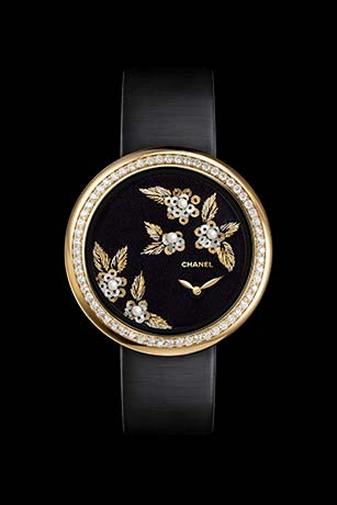 Mademoiselle Privé watch with gold thread camellias, fine pearls, diamonds and glass beads - Lesage embroidery.