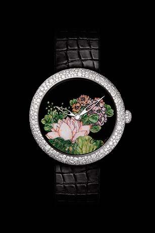 Mademoiselle Privé Coromandel watch in 18K white gold set with diamonds created using the Grand Feu enamel miniature technique - model 1