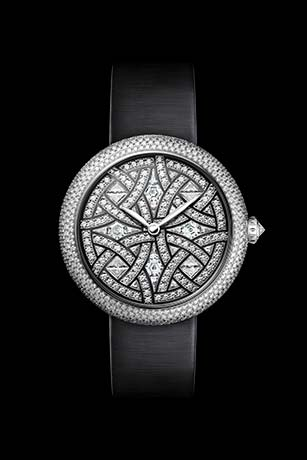 Mademoiselle Privé Bijoux de Diamants Plume Jewelry watch - mother-of-pearl marquetry and diamonds.