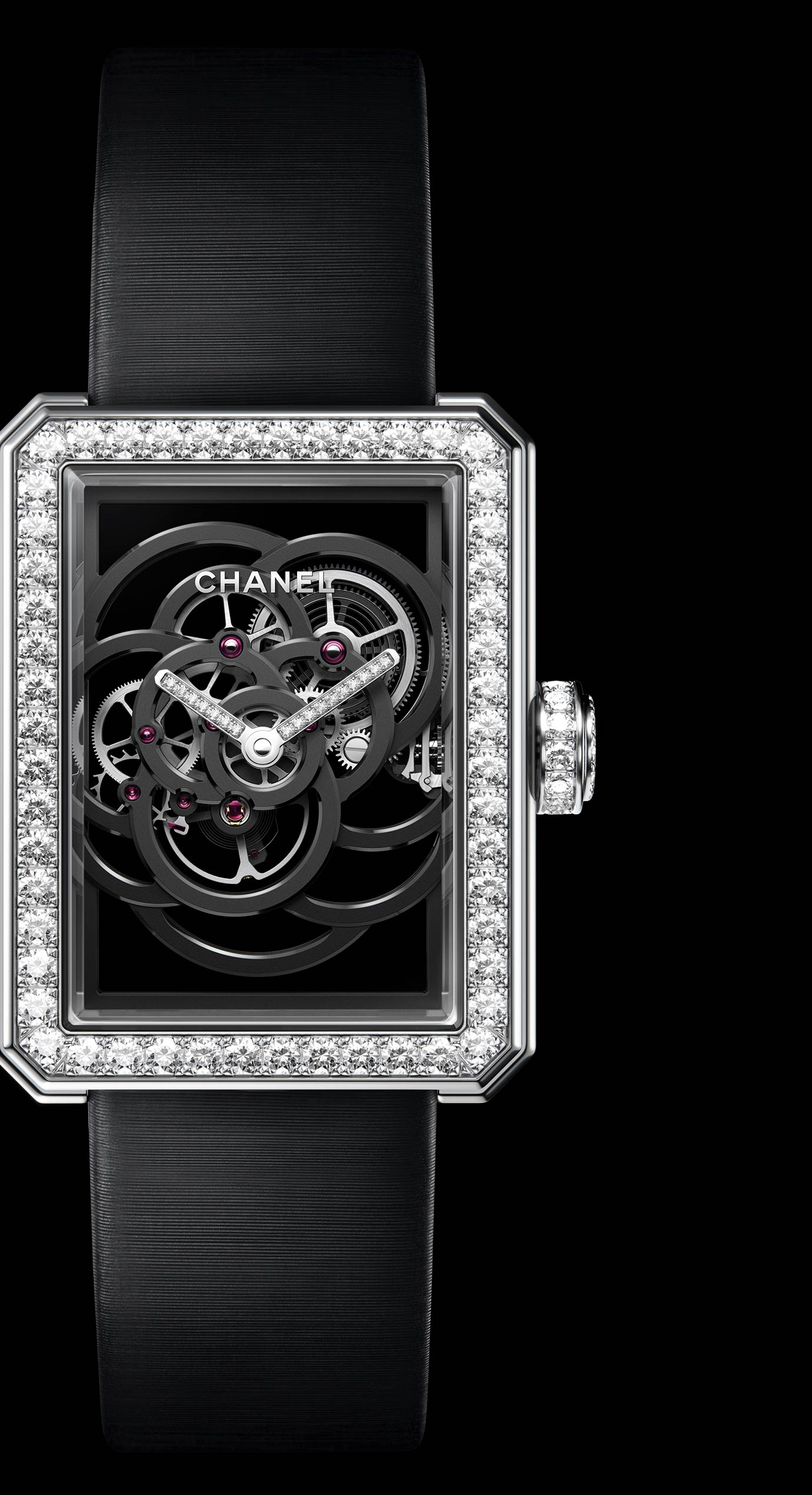 Première Camélia Skeleton watch in white gold, case, bezel and crown set with brilliant-cut diamonds - Enlarged view