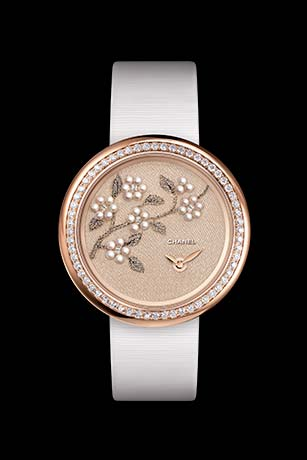 Mademoiselle Privé watch with gold thread camellias, fine pearls and glass beads - Lesage embroidery.
