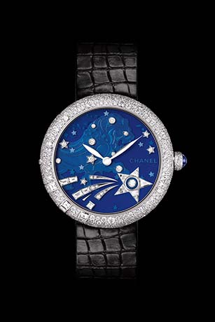 Mademoiselle Privé La Constellation du Lion Jewelry watch - Grand Feu blue translucent enamel and diamonds