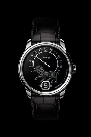 Monsieur Watch, White gold, baguette-cut diamonds,