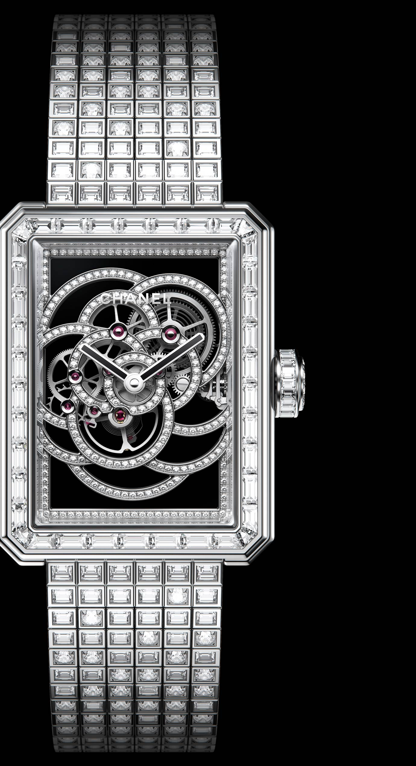 Première Camélia Skeleton watch in white gold, case, bezel, hands, crown and buckle set with diamonds - Enlarged view