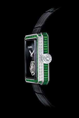 Première Flying Tourbillon in white gold, case and bezel set with emeralds and baguette-cut diamonds