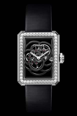 Часы Première Squelette Camélia Белое золото, корпус, безель и заводная коронка с бриллиантами классической огранки