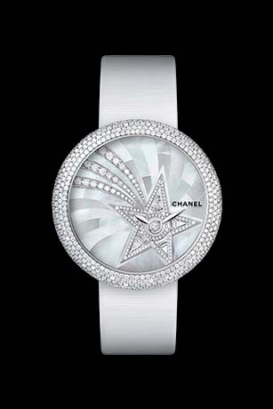 Mademoiselle Privé Bijoux de Diamants Comète Jewelry watch - mother-of-pearl marquetry and diamonds.