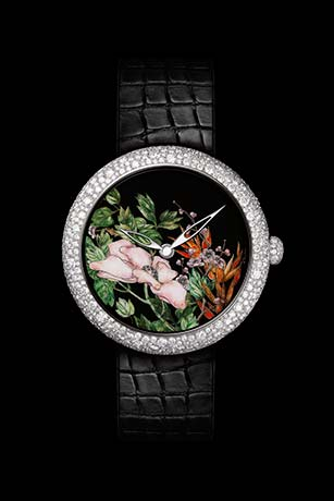 Mademoiselle Privé Coromandel watch in 18K white gold set with diamonds created using the Grand Feu enamel miniature technique - model 2