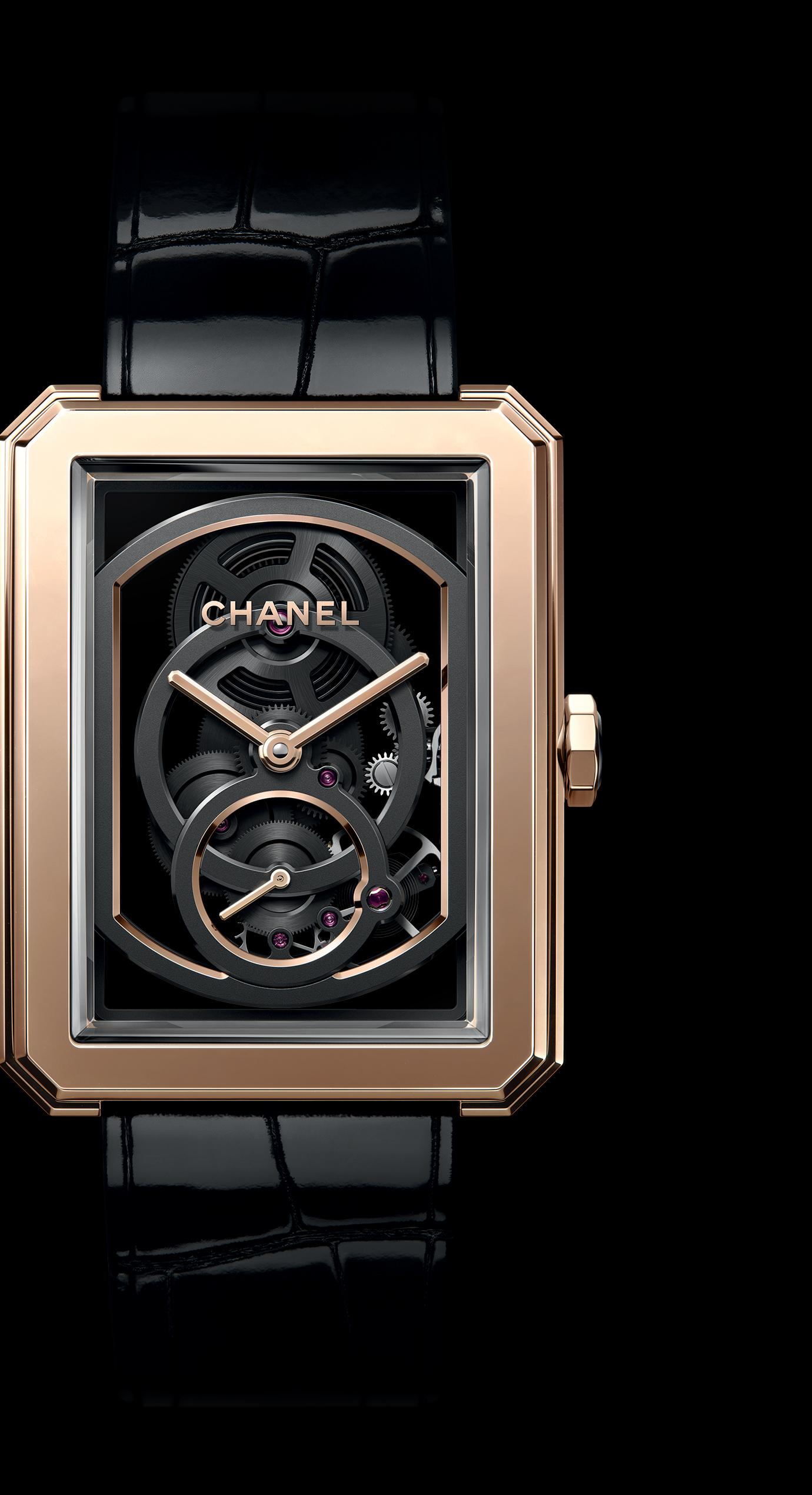 Часы BOY·FRIEND Skeleton, Модель большого размера, ЗОЛОТО BEIGE, блестящий ремешок из кожи аллигатора - {{common.trad.pe_enlarged