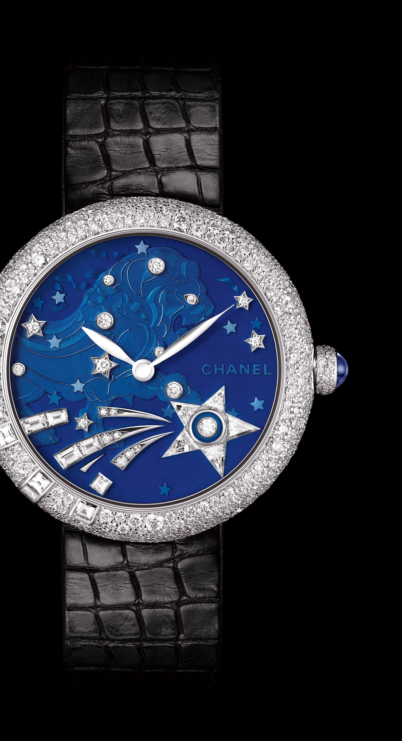 Mademoiselle Privé La Constellation du Lion Jewelry watch - Grand Feu blue translucent enamel and diamonds - Enlarged view