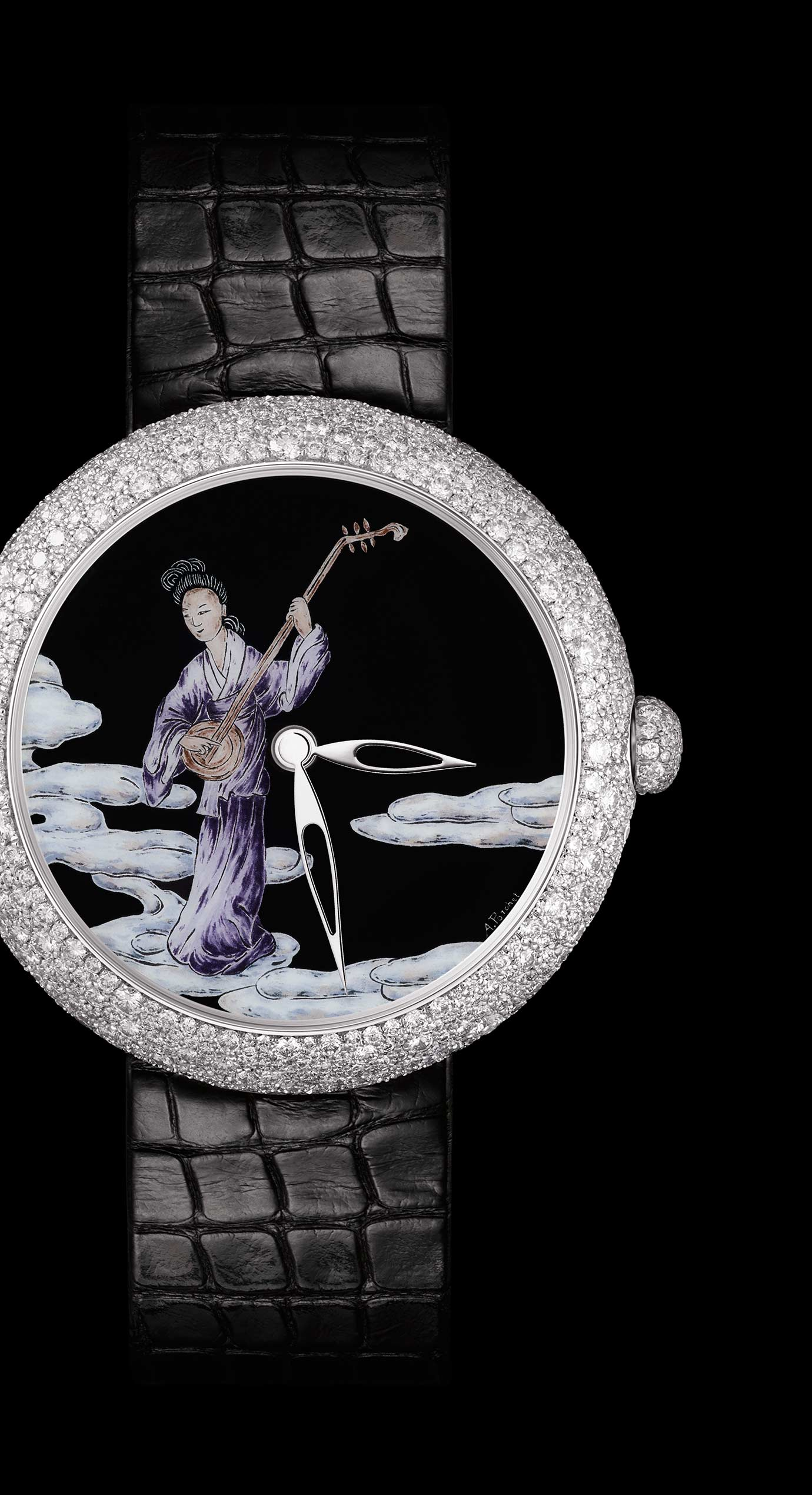 Mademoiselle Privé Coromandel watch in 18K white gold set with diamonds created using the Grand Feu enamel miniature technique - model 3 - Enlarged view