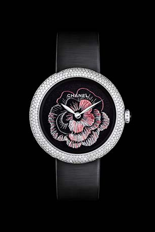 Mademoiselle Privé watches in 18K gold set with diamonds - Lesage embroidery