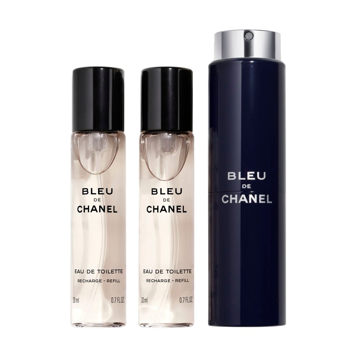 BLEU DE CHANEL EAU DE TOILETTE REFILLABLE TRAVEL SPRAY 3x20ml