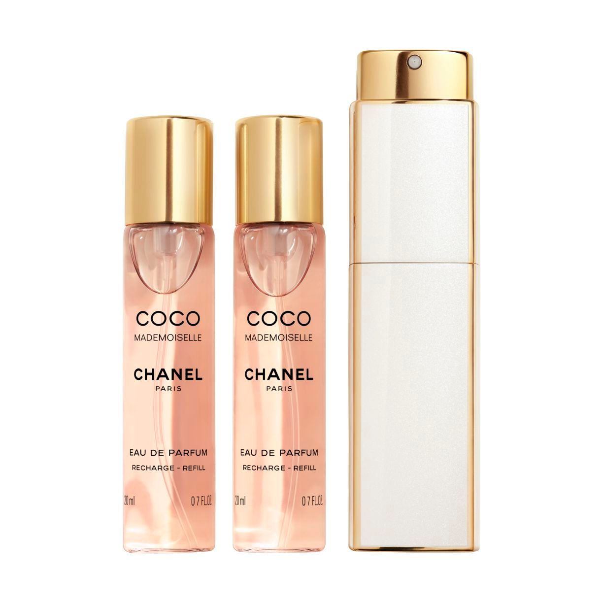 COCO MADEMOISELLE TWIST AND SPRAY Eau de Parfum rechargeable بخاخ برأس دوّار لماء العطر 3x20ml