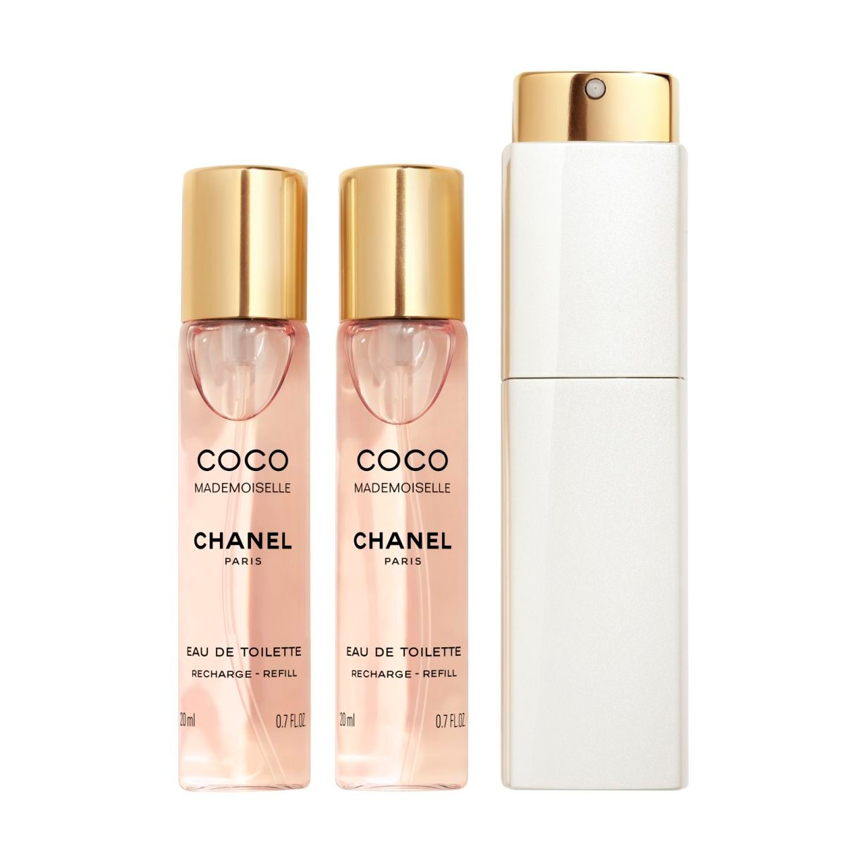 COCO MADEMOISELLE TWIST AND SPRAY Eau de Toilette rechargeable بخاخ برأس دوّار لماء التواليت 3x20ml