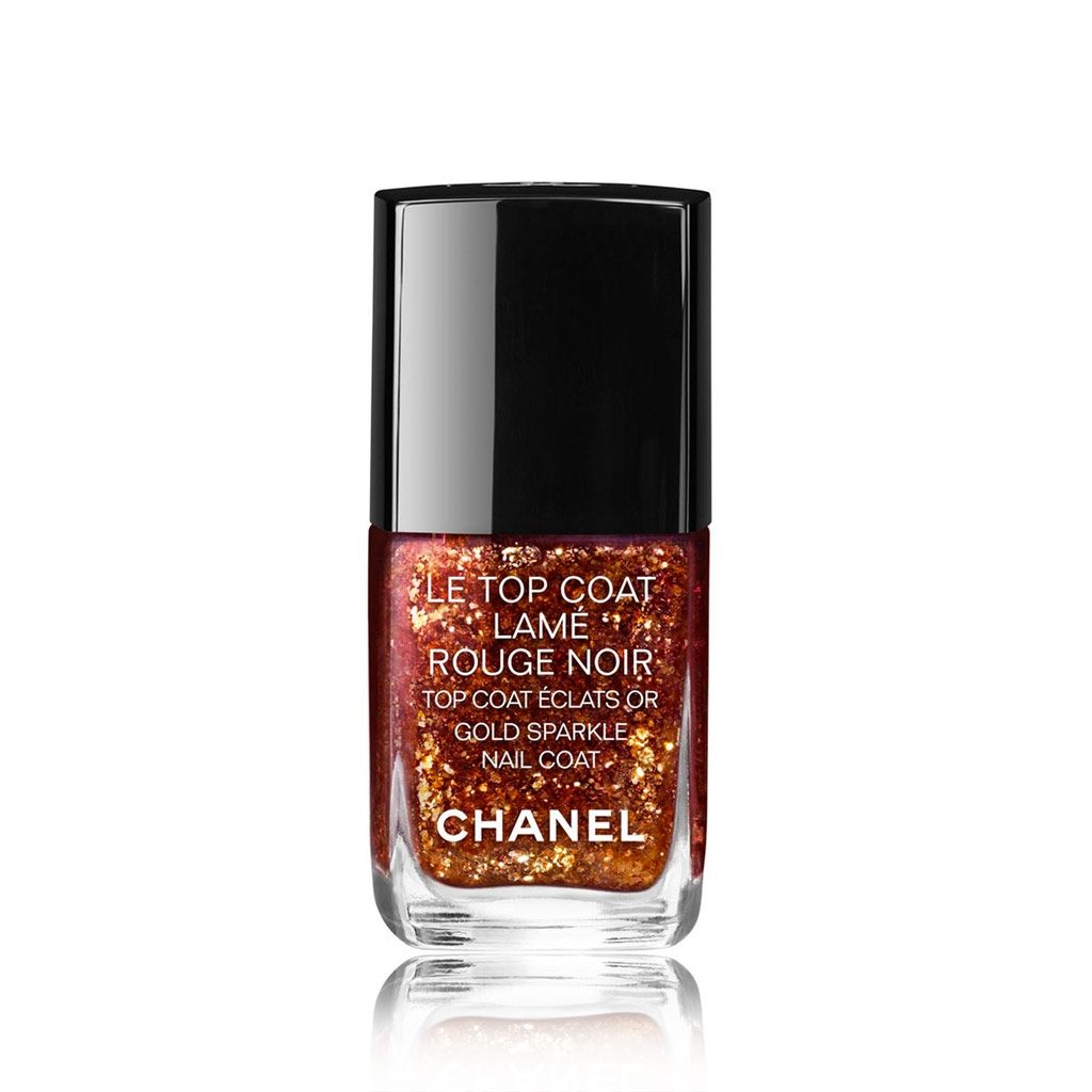 LE TOP COAT LAMÉ ROUGE NOIR Tri-phase top coat, to be used on dry nail colour