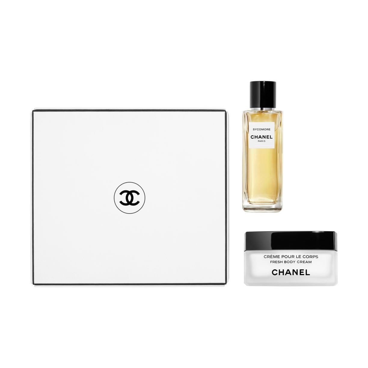 LES EXCLUSIFS DE CHANEL SYCOMORE EAU DE PARFUM 75 ML AND FRESH BODY CREAM COFFRET