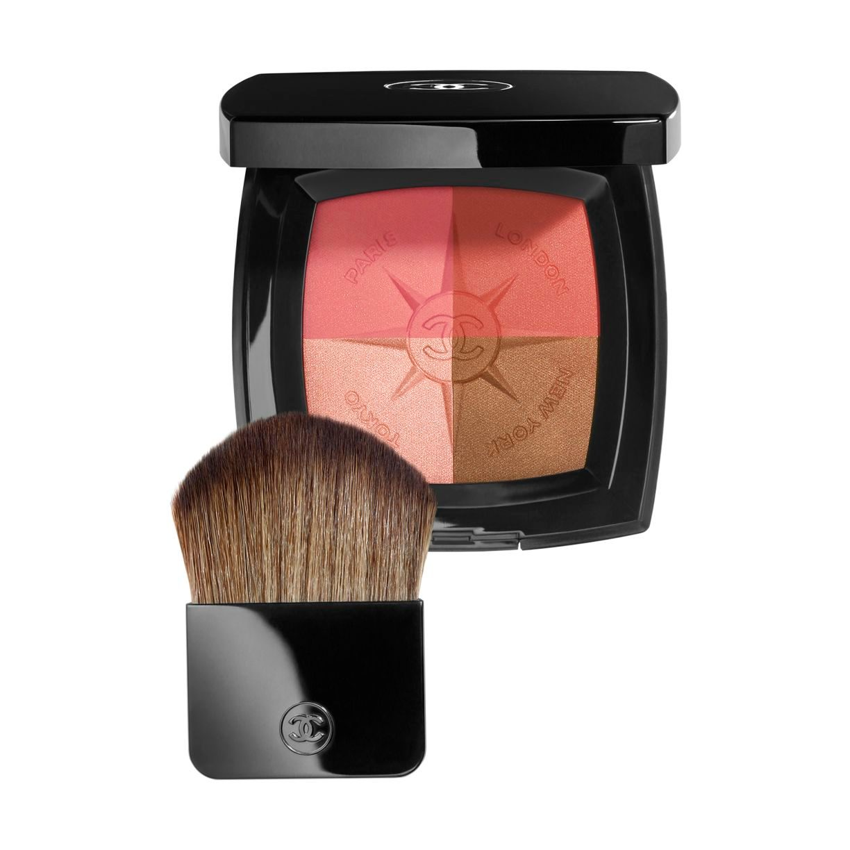 VOYAGE DE CHANEL Exclusive at Duty Free stores TRAVEL FACE PALETTE BLUSH AND ILLUMINATING POWDERS. WITH BRUSH APPLICATOR. LIMITED EDITION. 11g