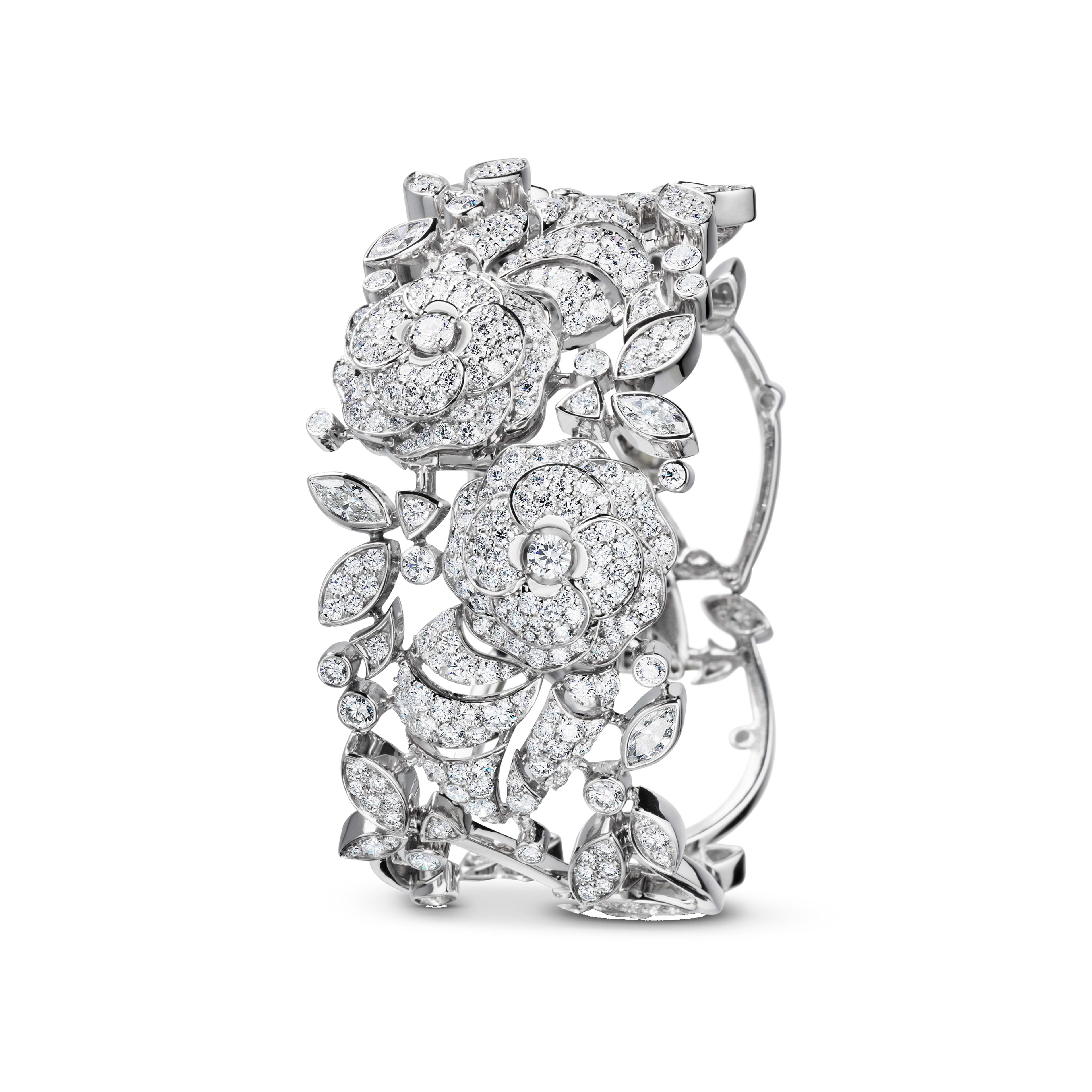 Camélia Bracelet - Camélia bouquet necklace in 18K white gold, diamonds and central diamond - Default view - see full sized version