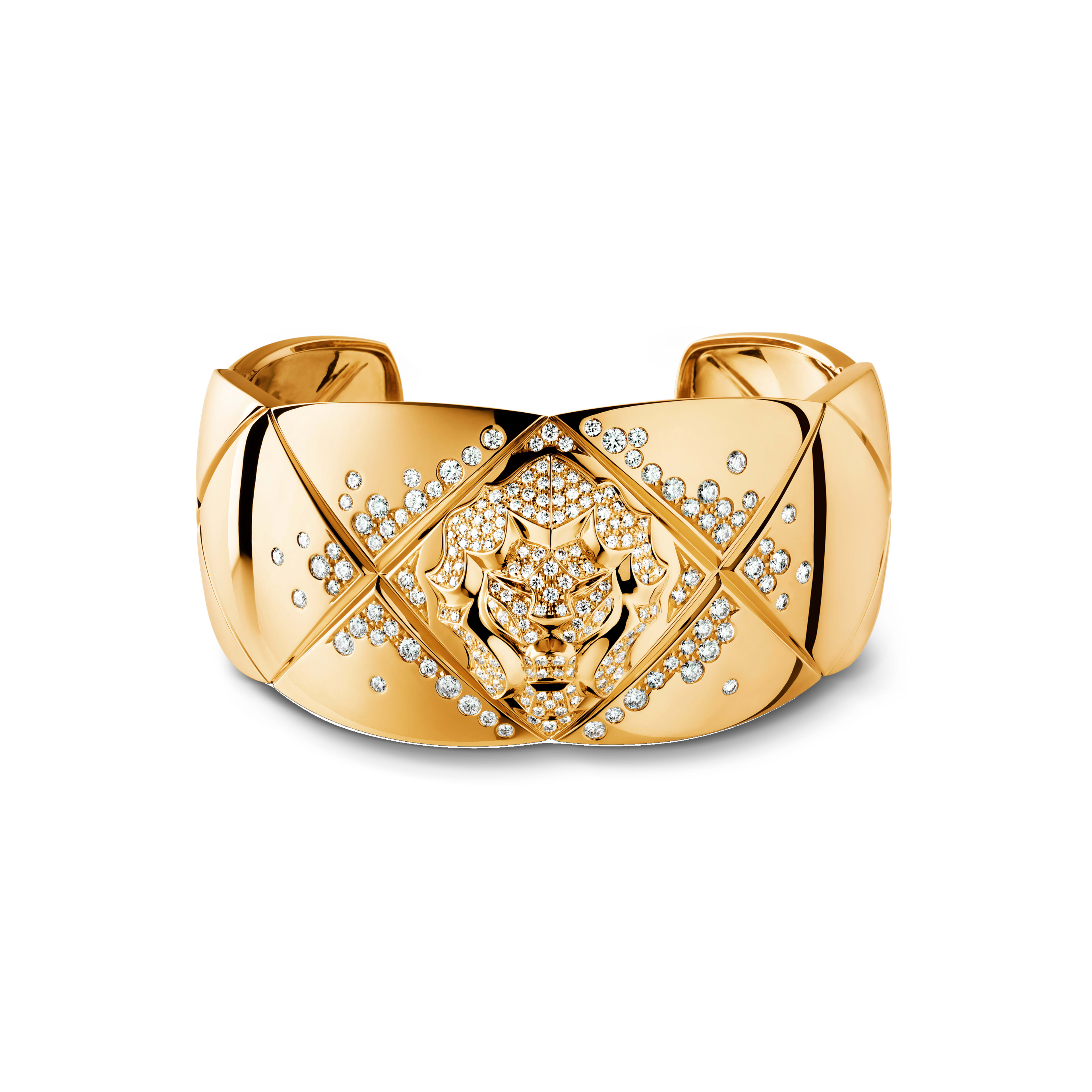 Coco Crush bracelet - Quilted motif and lion cuff in 18K yellow gold and diamonds - Default view - see full sized version