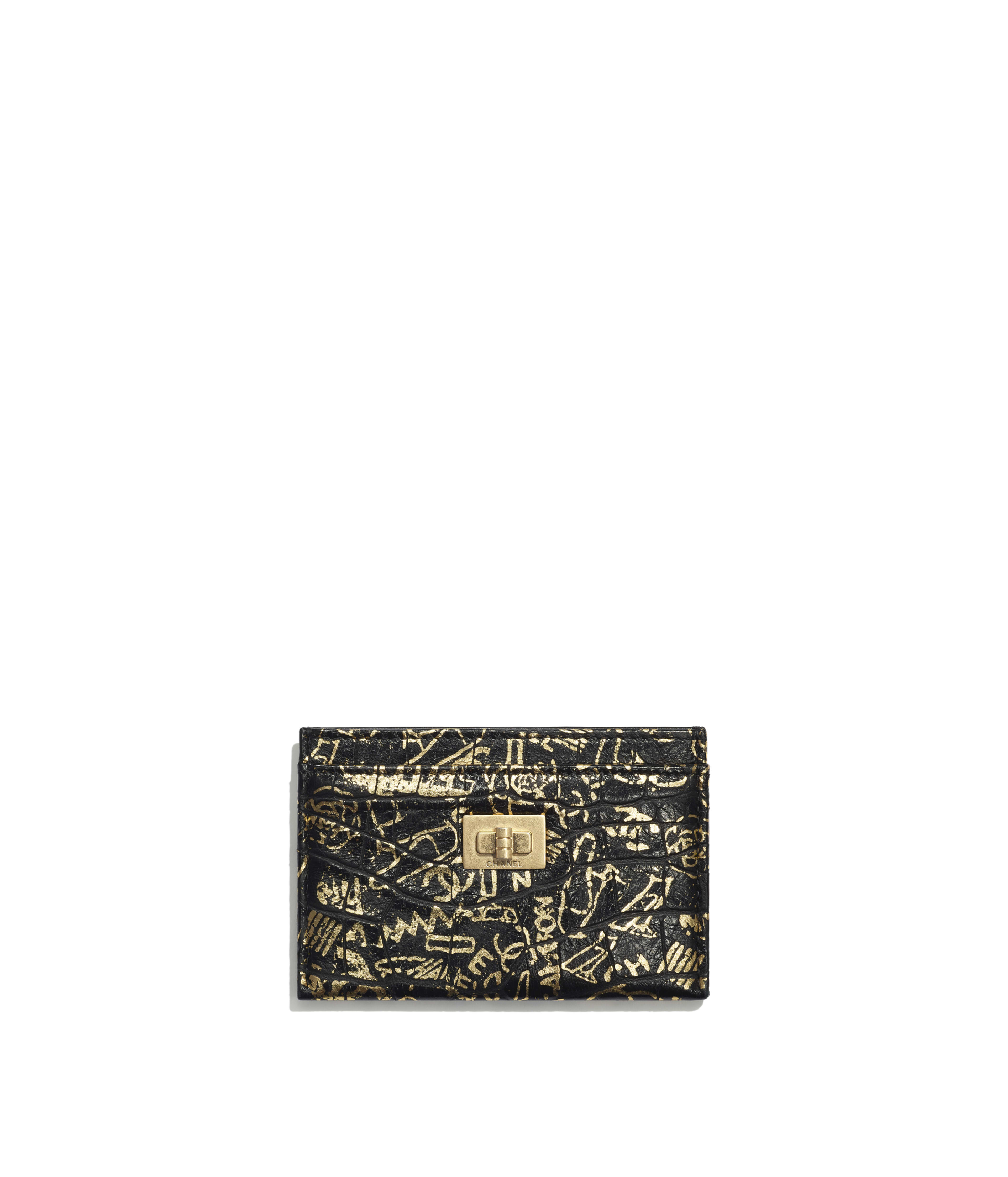 d6269ccc3ae4 2.55 Card Holder Crocodile Embossed Printed Leather & Gold-Tone Metal, Black  & Gold Ref. A80611B00979N0784