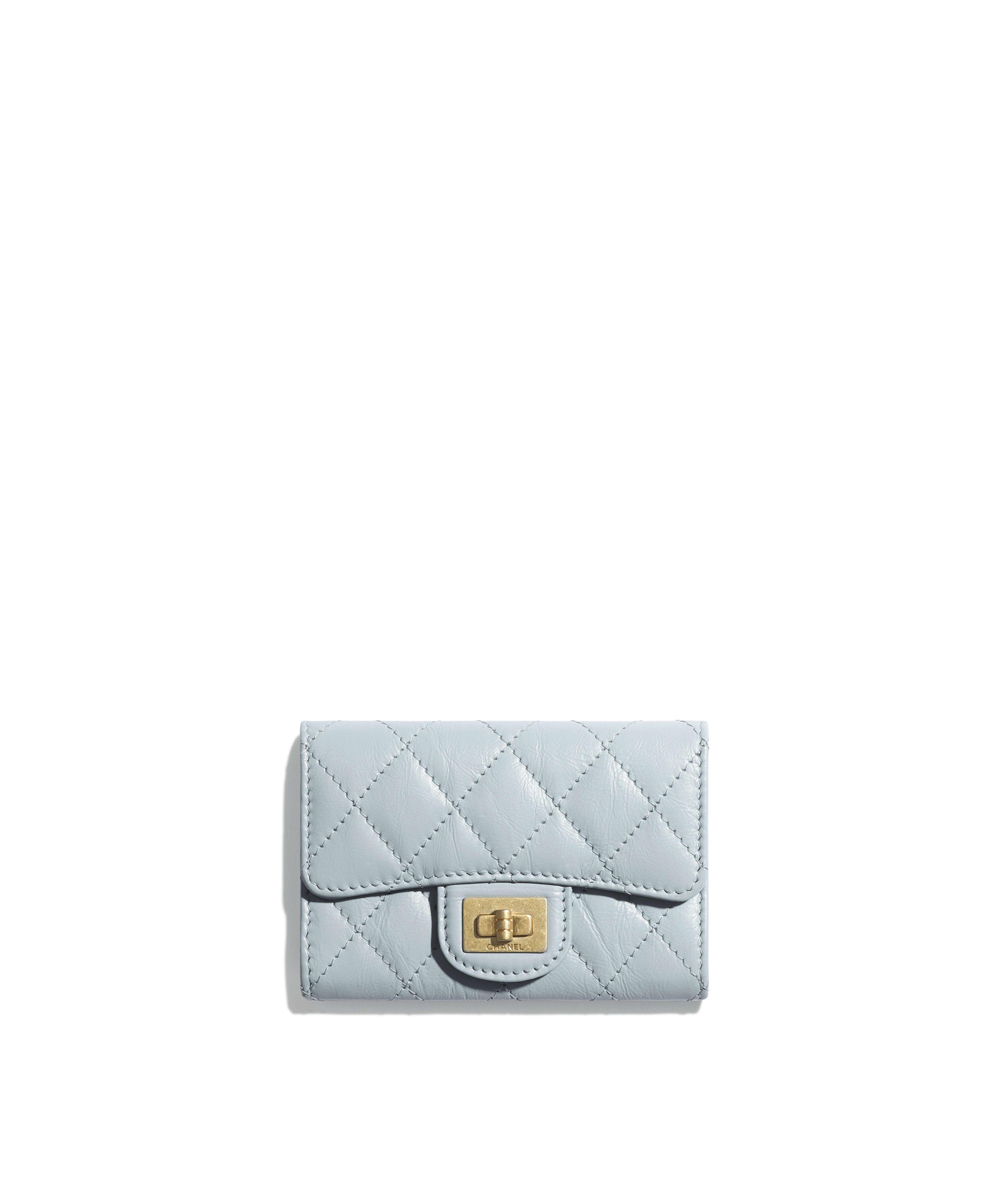 6e60384ad045 2.55 Flap Card Holder Aged Calfskin & Gold-Tone Metal, Light Blue Ref.  A80831Y04634N0428