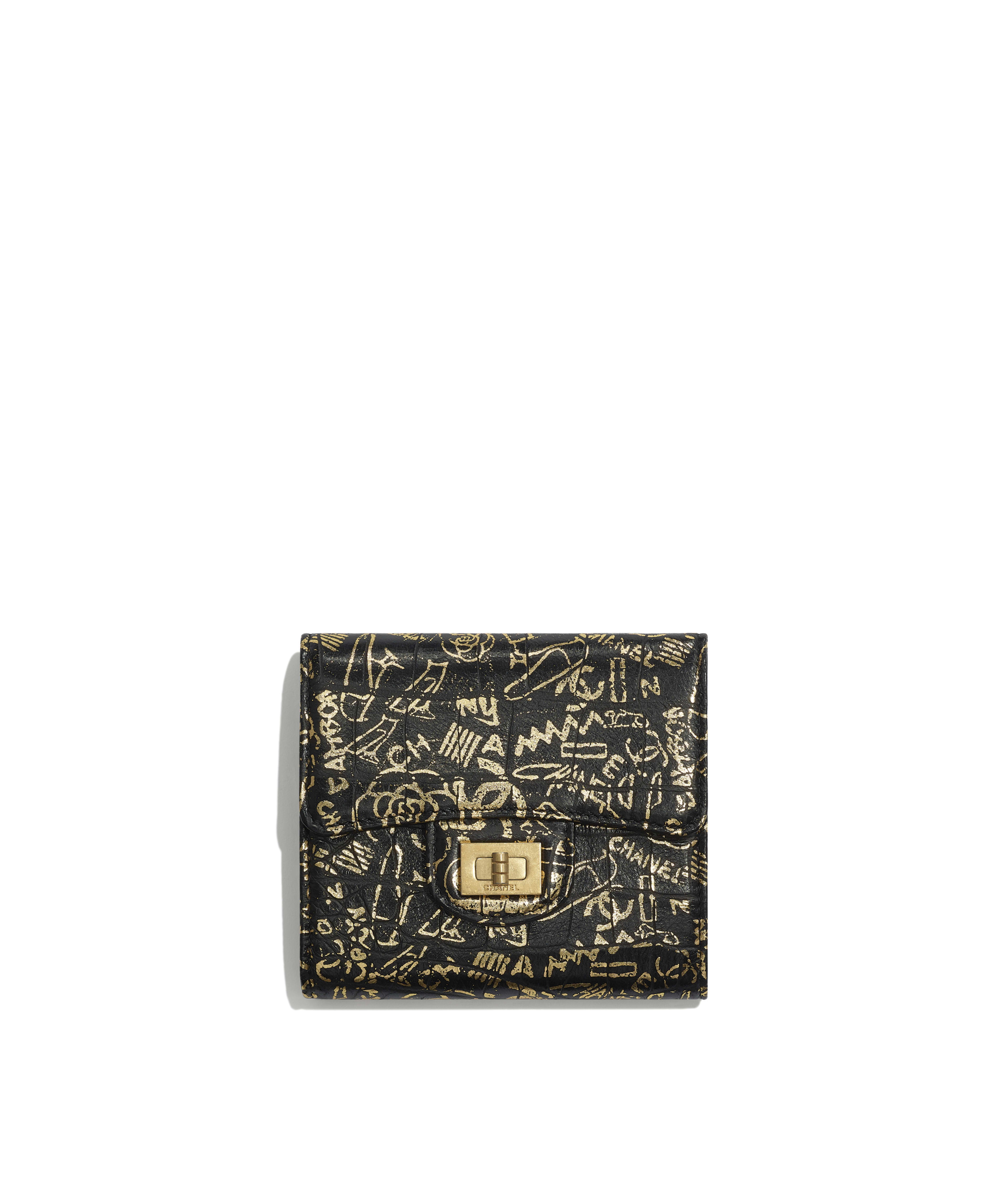 26fe53786653 2.55 Small Flap Wallet Crocodile Embossed Printed Leather & Gold-Tone  Metal, Black & Gold Ref. A80832B00979N0784