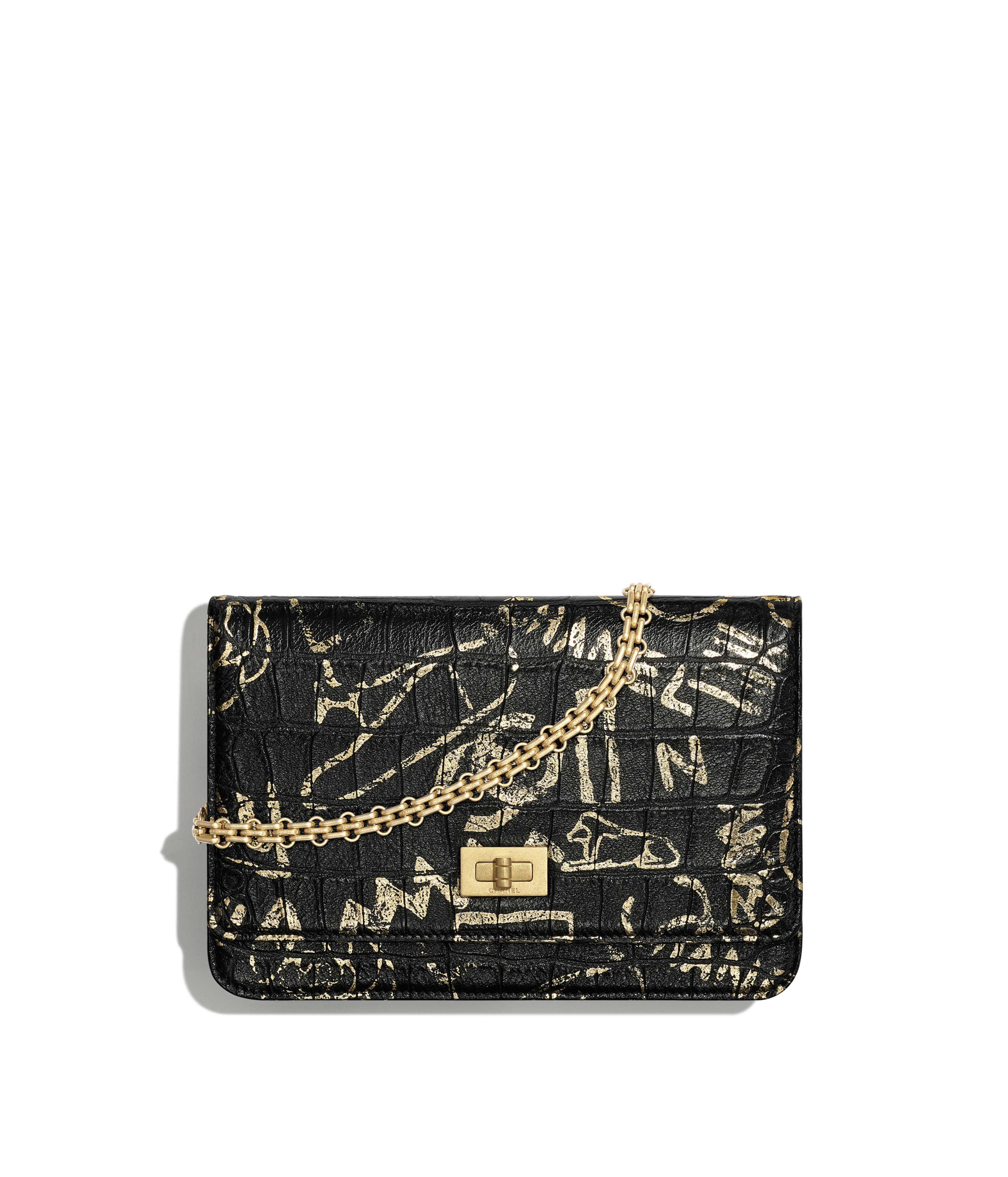 243291c752a4 2.55 Wallet on Chain Crocodile Embossed Printed Leather & Gold-Tone Metal,  Black & Gold Ref. A70328B00979N0784