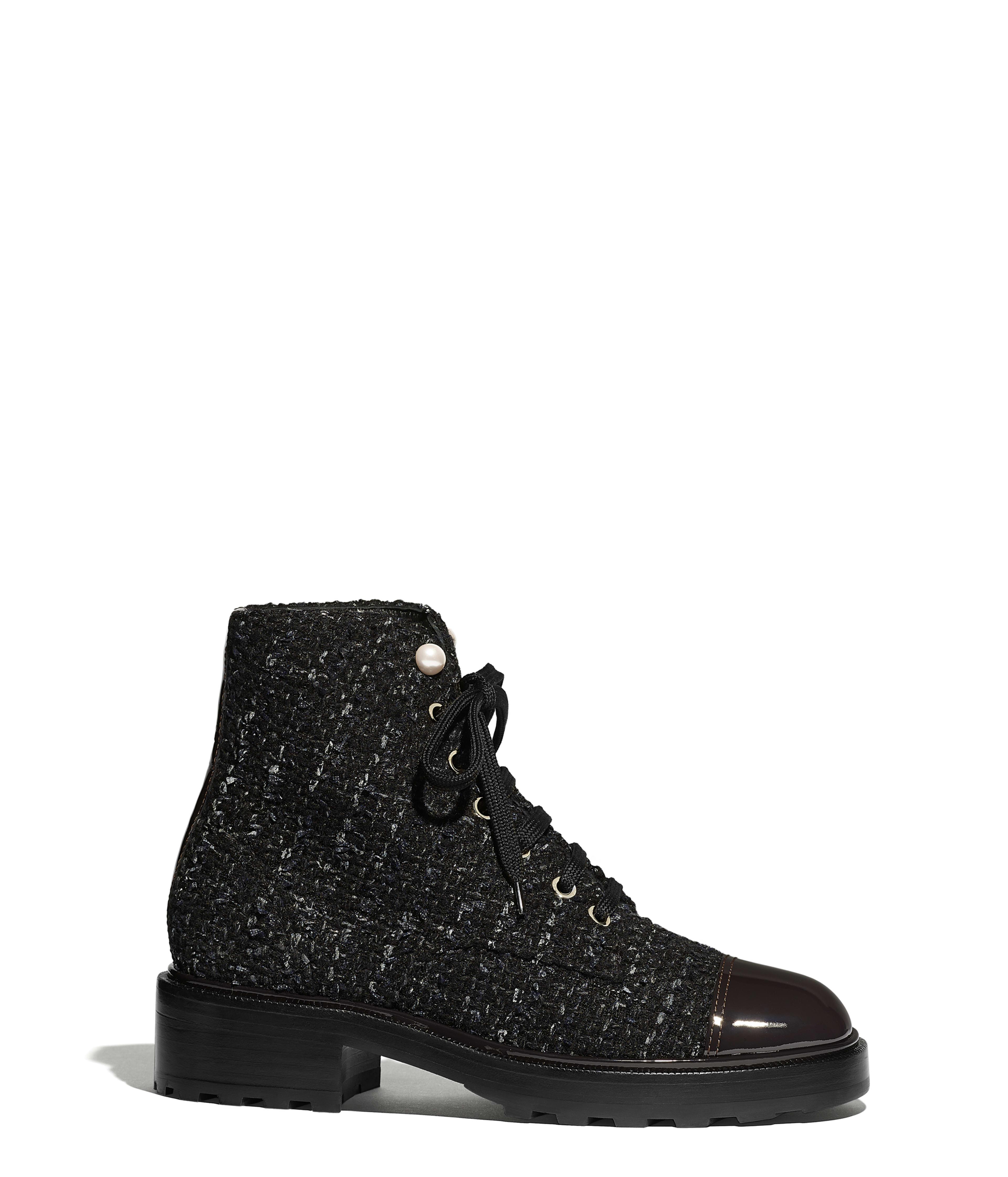 9b7905df1 Ankle Boots Tweed & Patent Calfskin, Black, Blue & Gray Ref.  G35154Y53934K1842