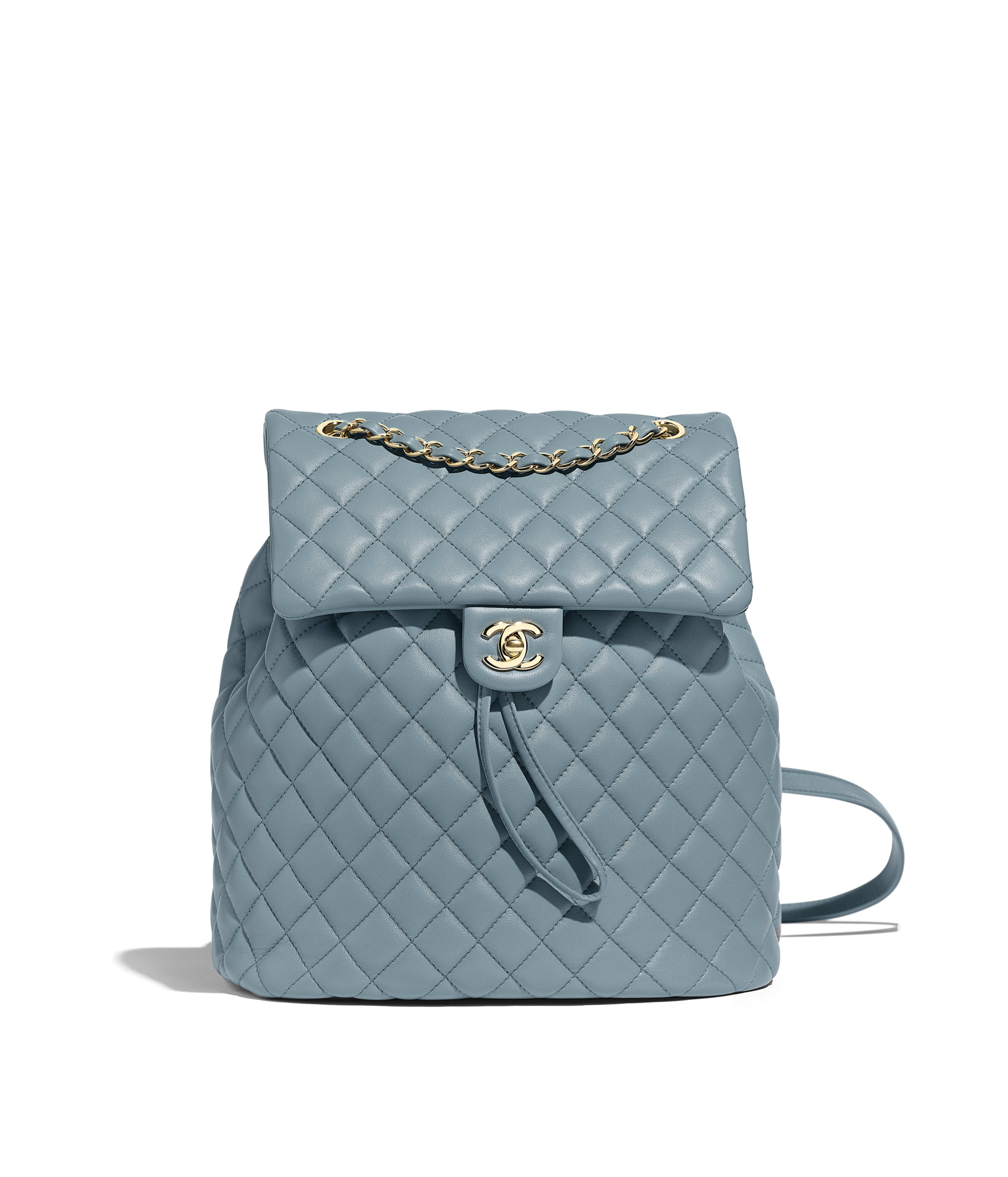 c692d33d2270e5 Backpack Lambskin & Gold-Tone Metal, Blue Ref. A91122B00250N0418