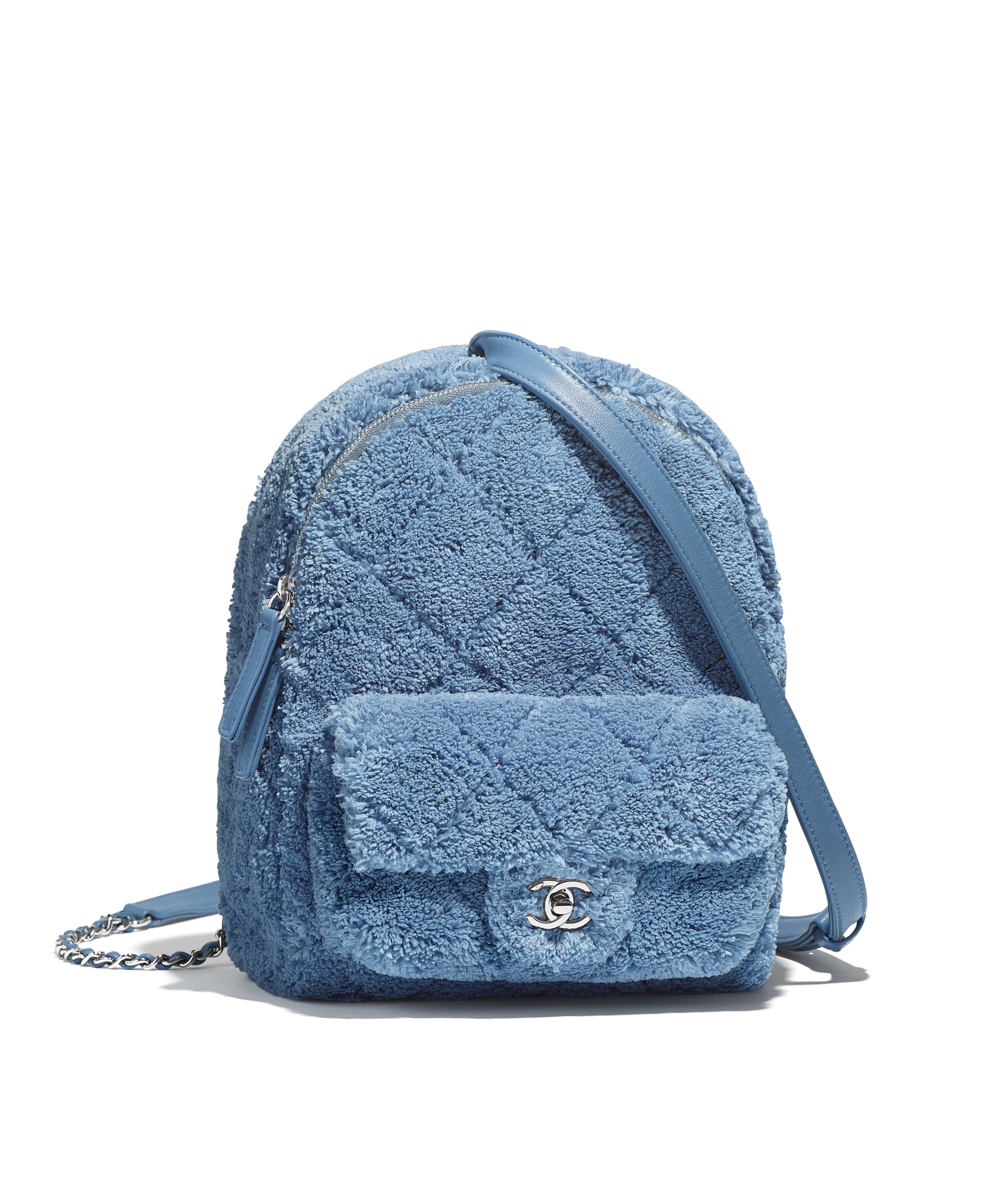 94c8ed22c217 Backpack Mixed Fibers, Lambskin, Calfskin & Silver-Tone Metal, Blue Ref.  AS0604B00385N0902