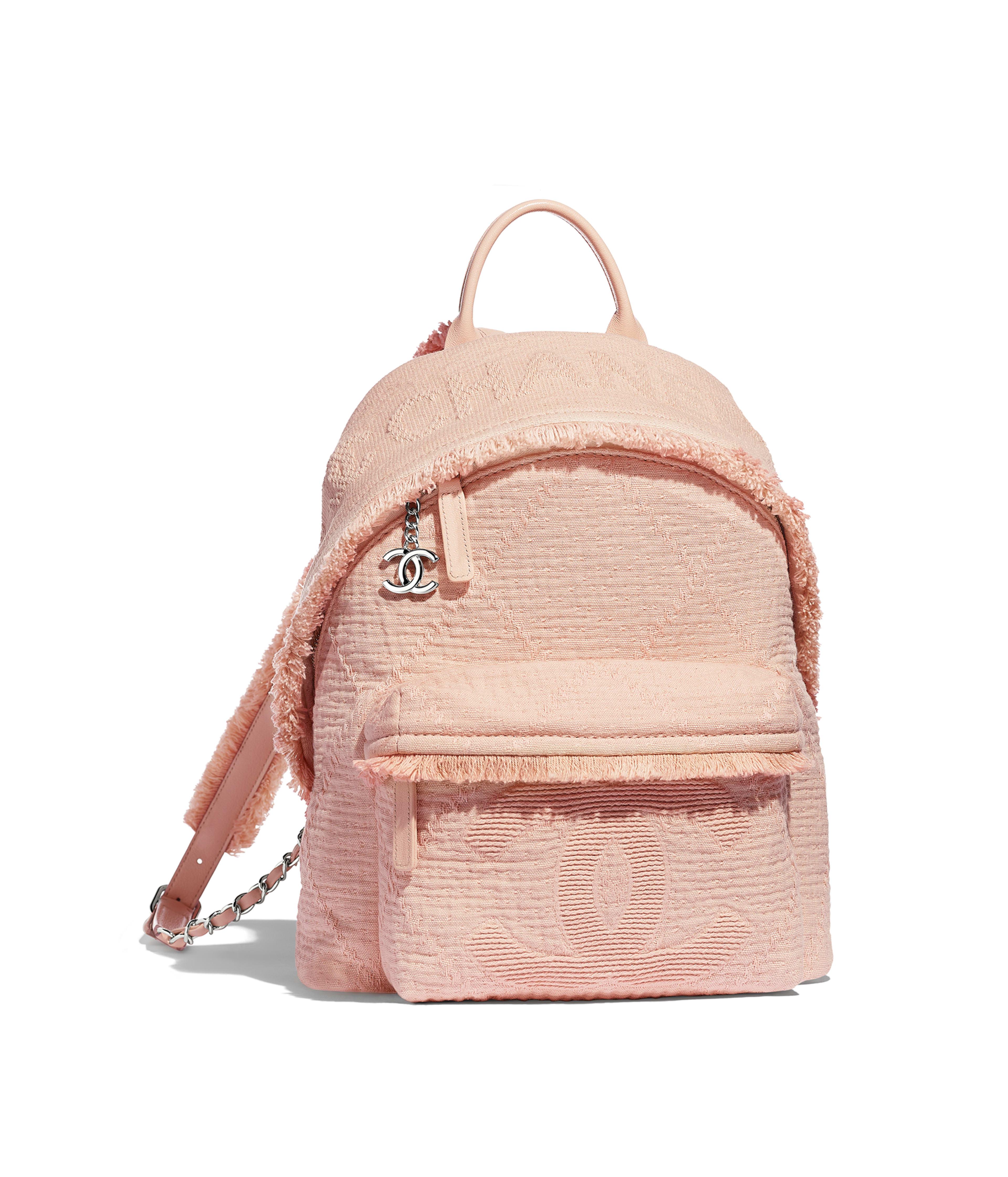6f2dcea67a5ae7 Backpack Mixed Fibers, Goatskin, Silver-Tone Metal, Light Pink Ref.  AS0313B00107N0519