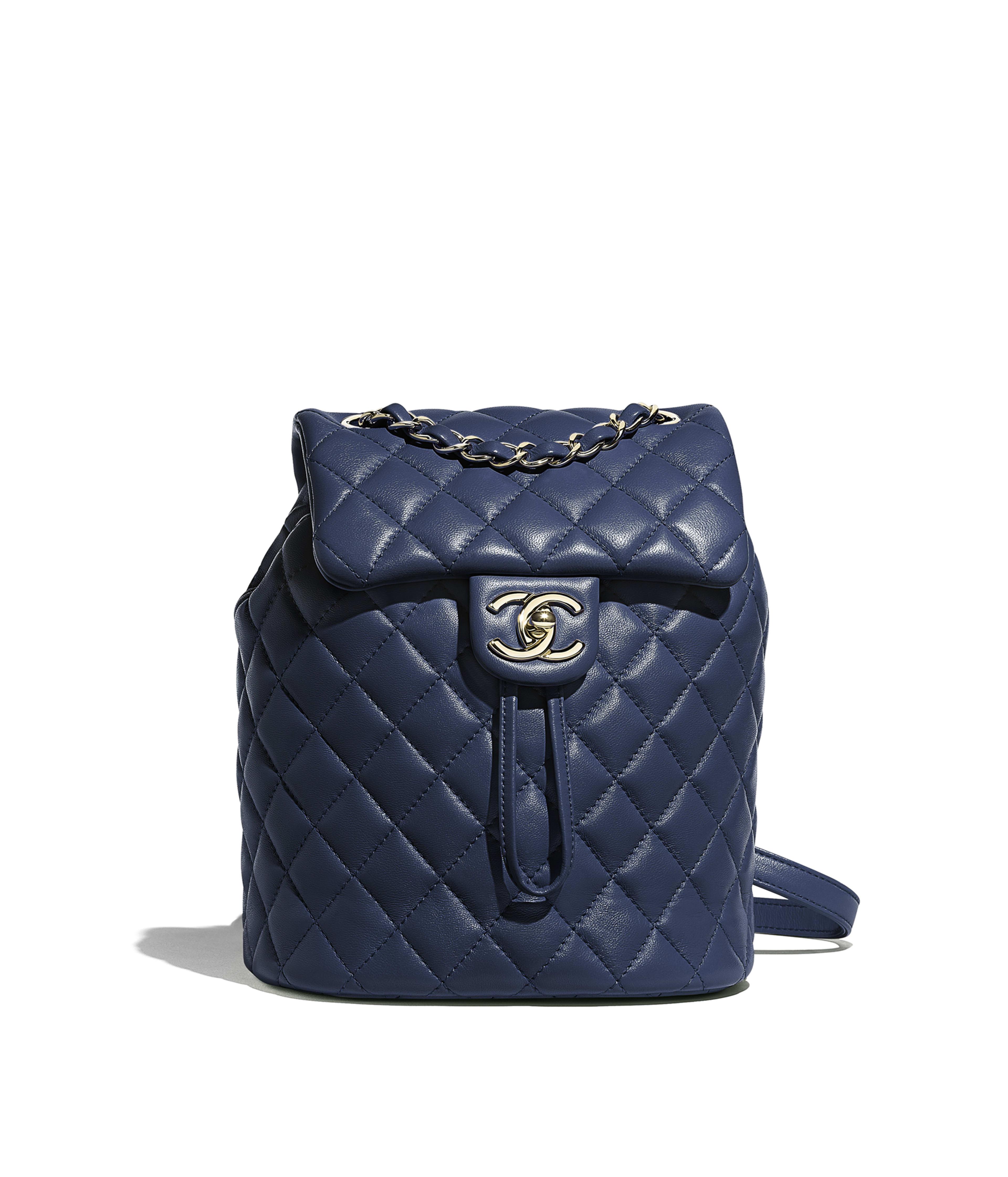 ae234c0039e3 Backpack Lambskin & Gold-Tone Metal, Navy Blue Ref. A69964B00250N0417