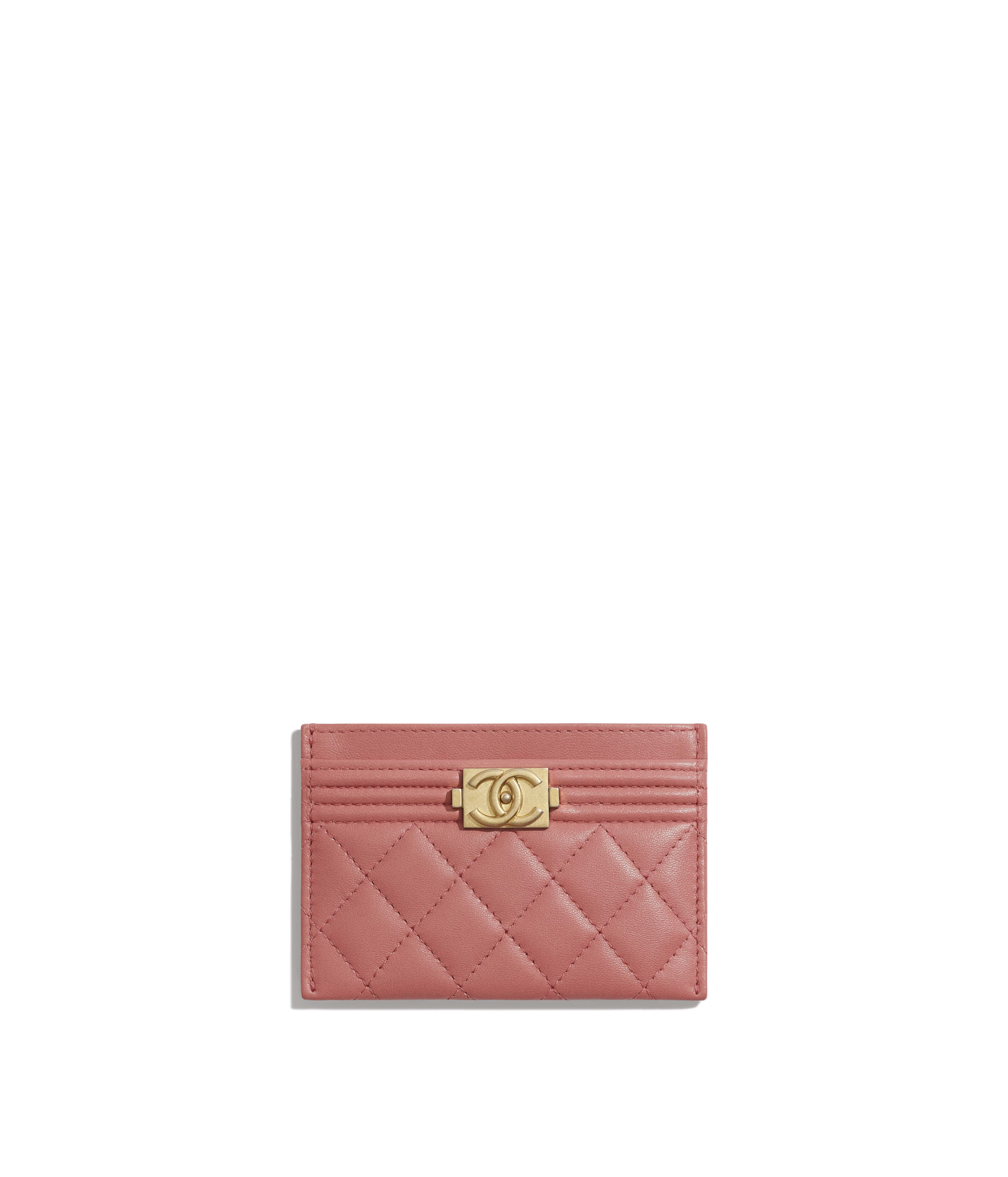 0244aac3754 BOY CHANEL Card Holder Lambskin & Gold-Tone Metal, Pink Ref.  A84431Y07659N4852
