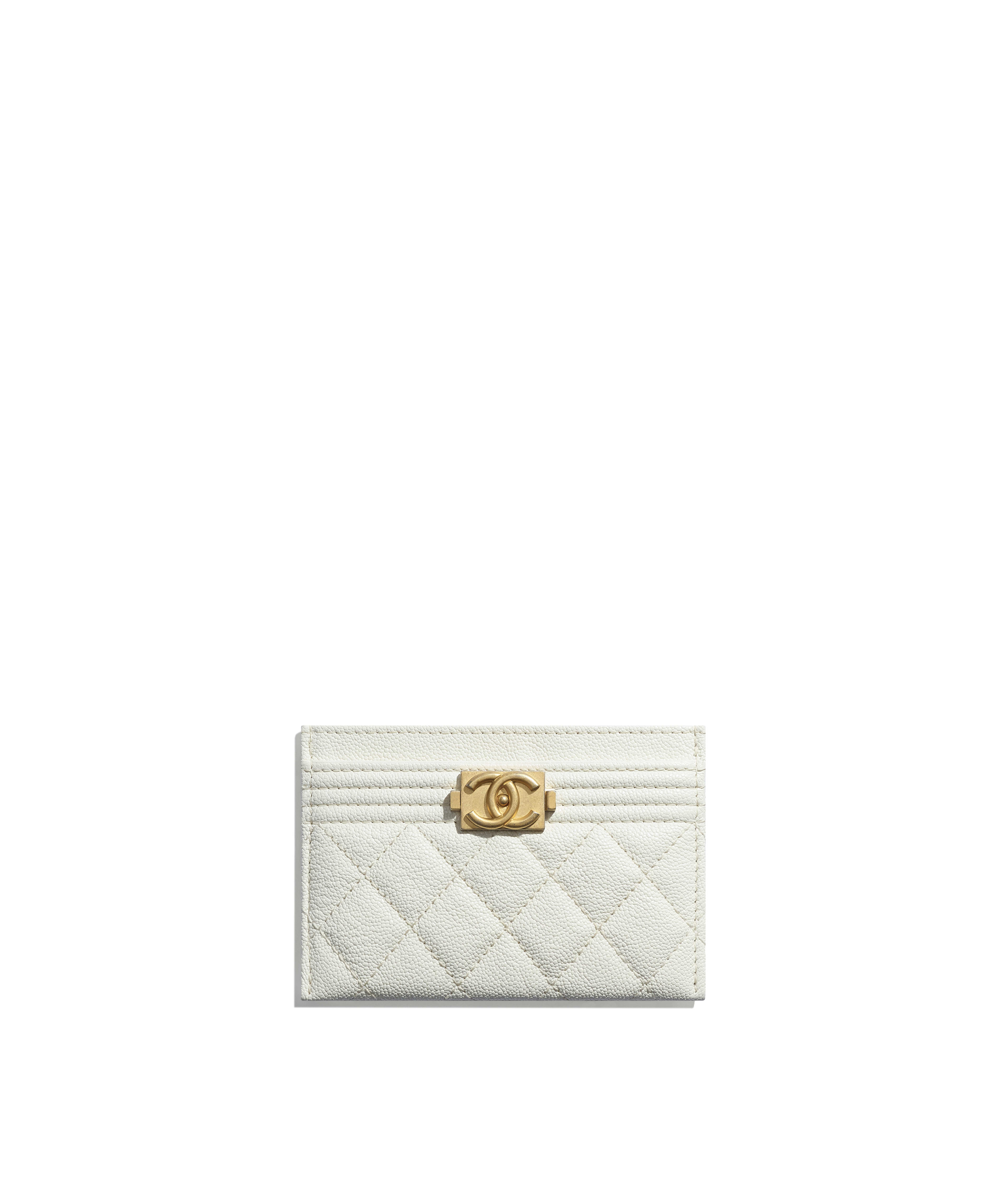 ccad5a697767 BOY CHANEL Card Holder Grained Calfskin & Gold-Tone Metal, White Ref.  A84431Y8362110601