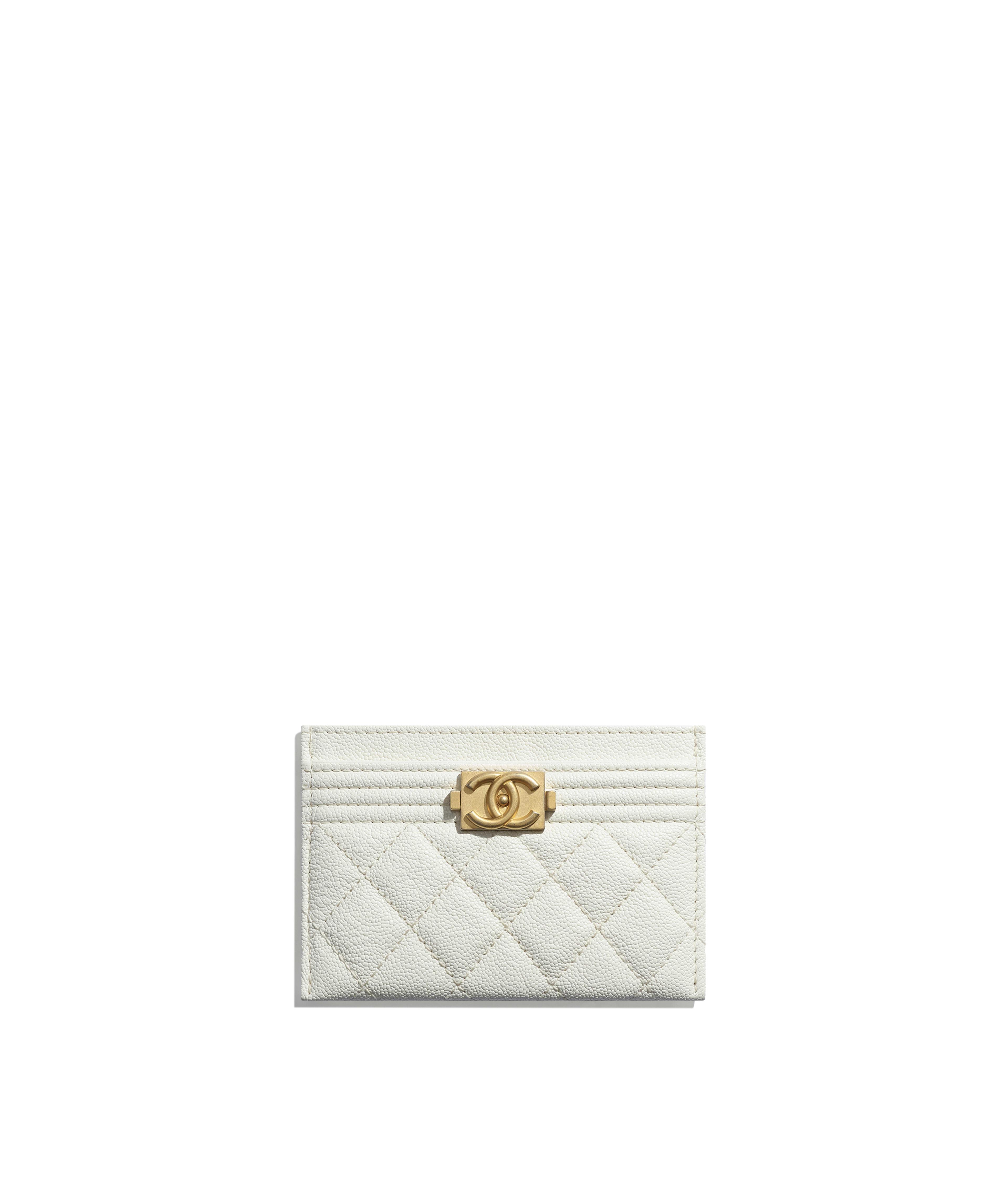 9029b8d22975 BOY CHANEL Card Holder Grained Calfskin & Gold-Tone Metal, White Ref.  A84431Y8362110601