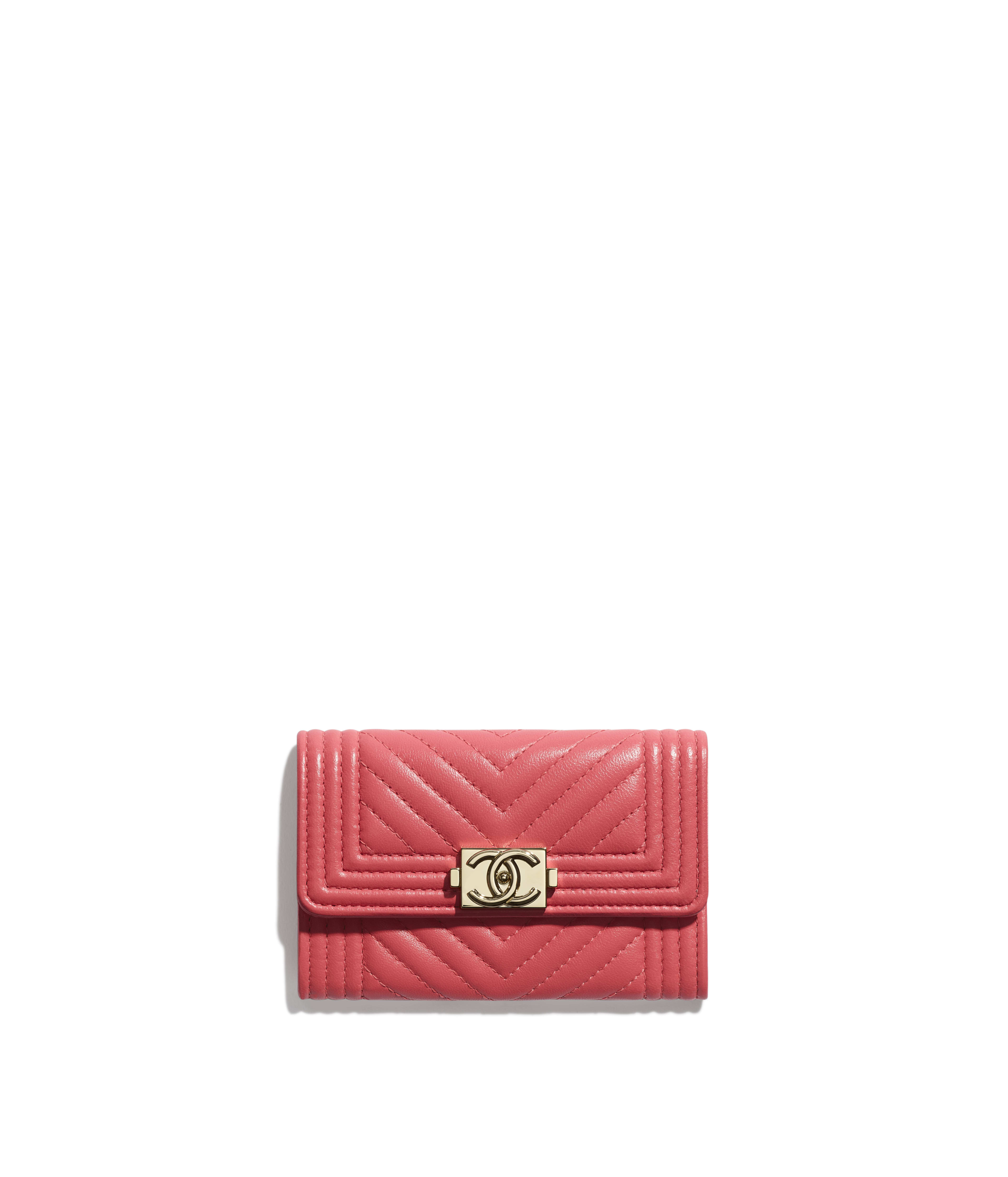 5b8559ac66ec84 BOY CHANEL Flap Card Holder Lambskin & Gold-Tone Metal, Pink Ref.  A80603Y25539N0412