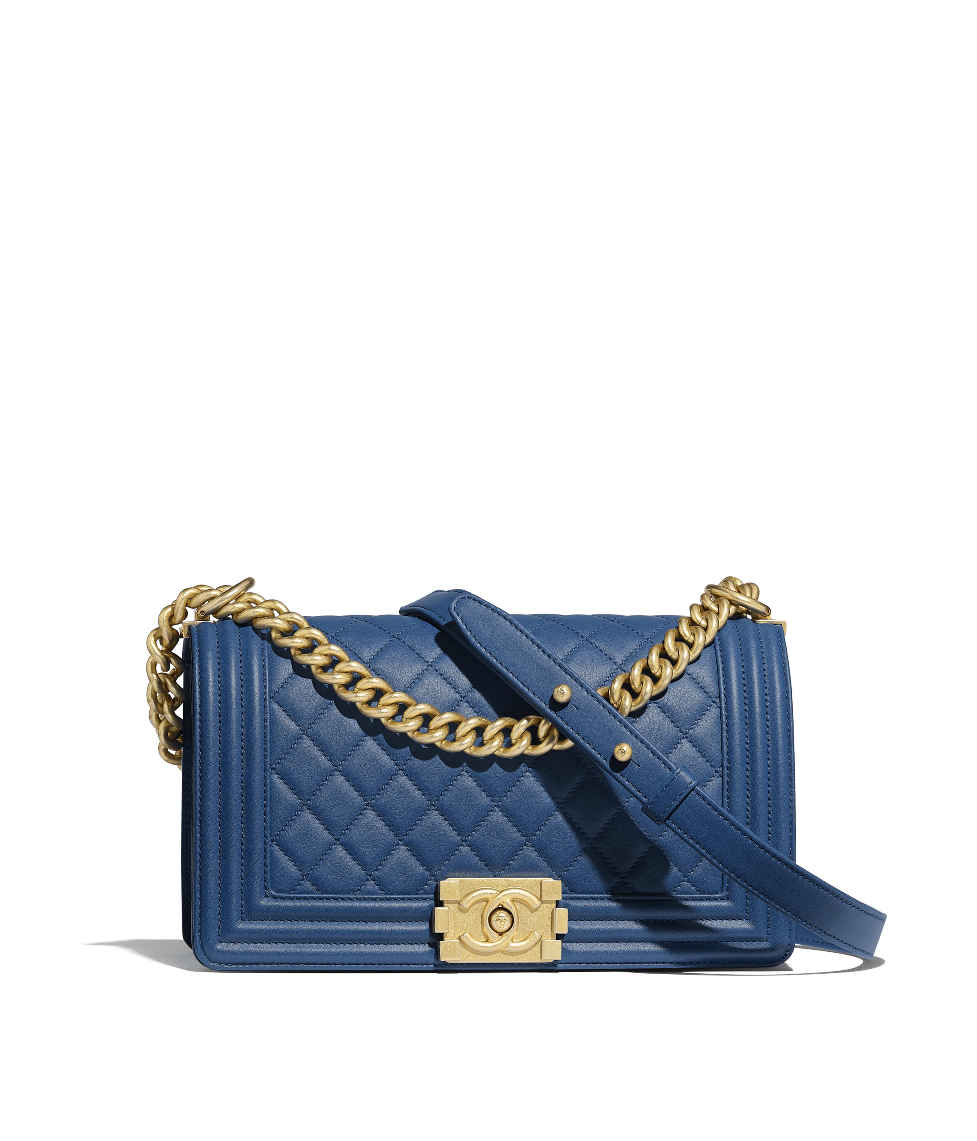 ac1eb79c76bf BOY CHANEL Handbag Calfskin & Gold-Tone Metal, Dark Blue Ref.  A67086Y09939N0901