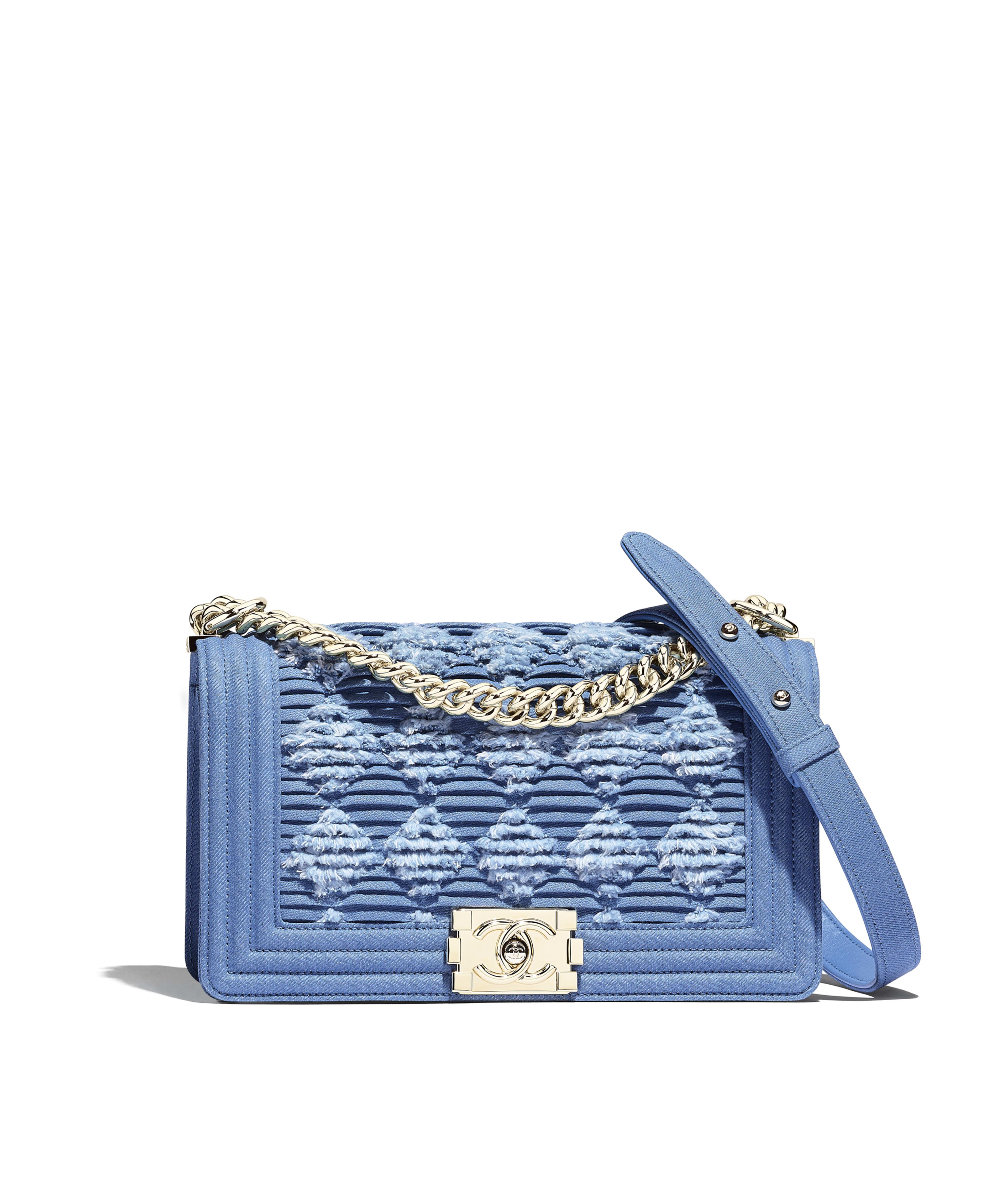 4a5dda433f04 BOY CHANEL Handbag Pleated Denim & Gold-Tone Metal, Light Blue Ref.  A67086B00300N4418