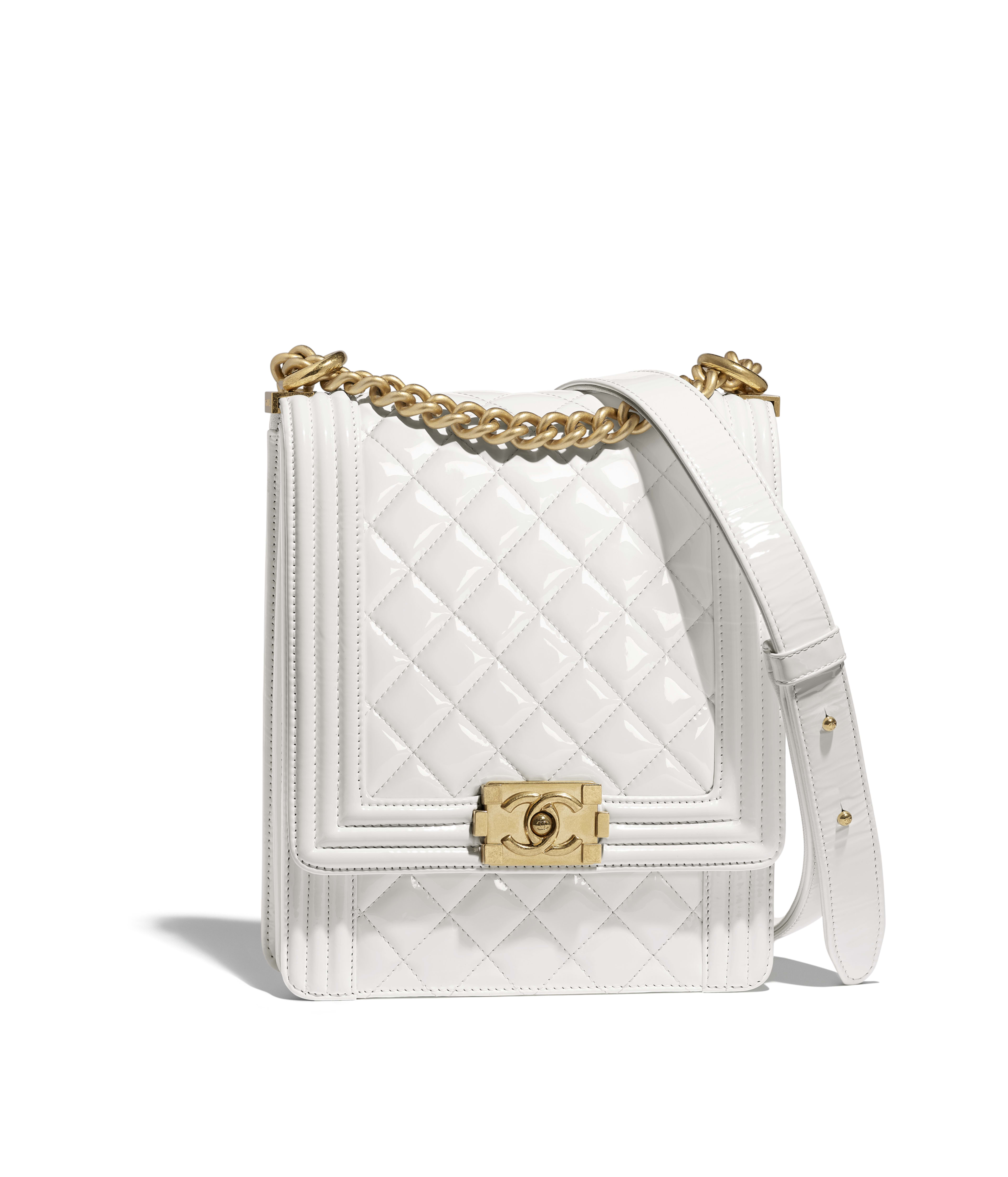 fd3b9b81751c BOY CHANEL Handbag Patent Calfskin & Gold-Tone Metal, White Ref.  AS0130Y8418110601