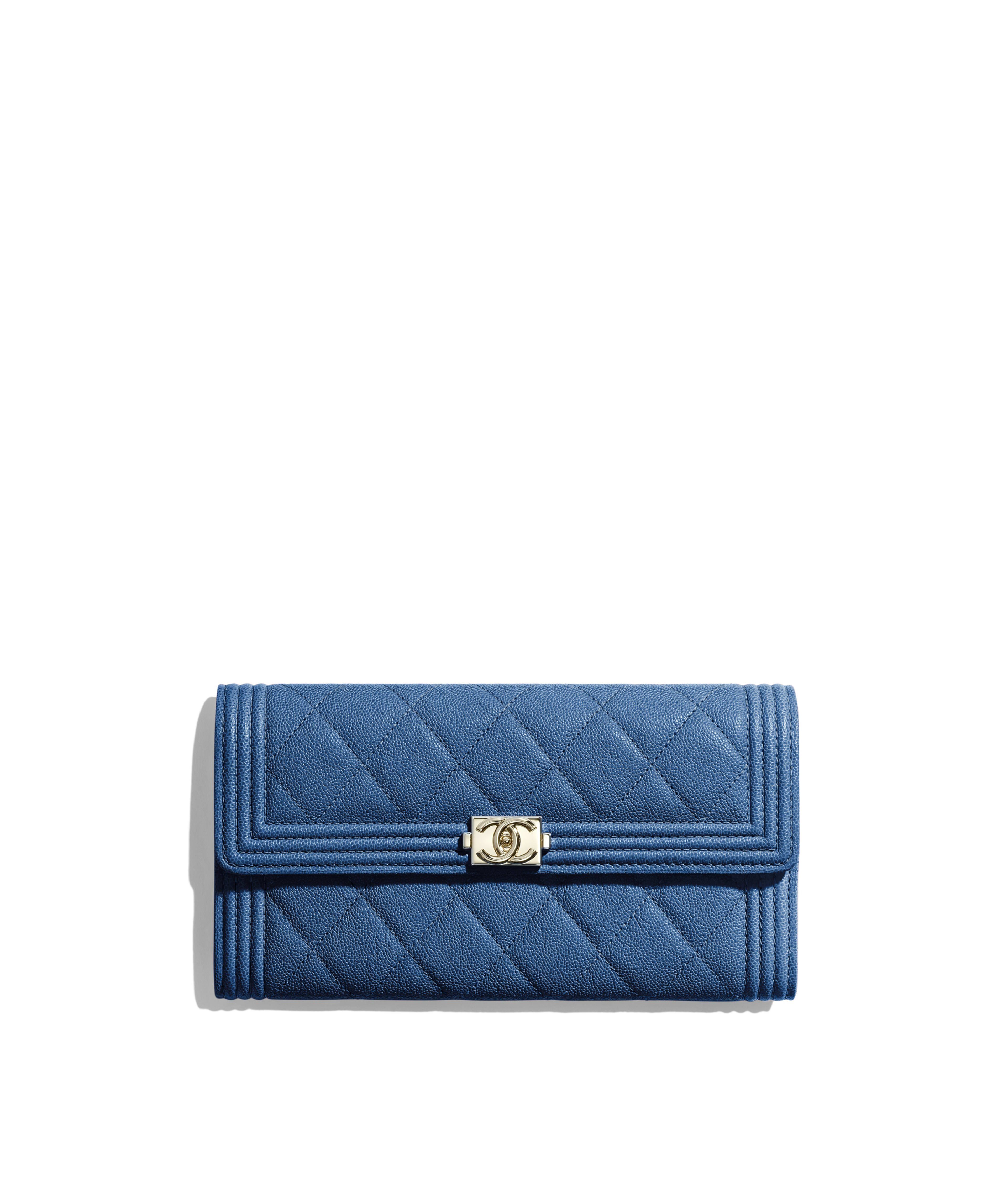 b00844837c1f23 BOY CHANEL Long Flap Wallet Grained Calfskin & Gold-Tone Metal, Dark Blue  Ref. A80286B00317N0901