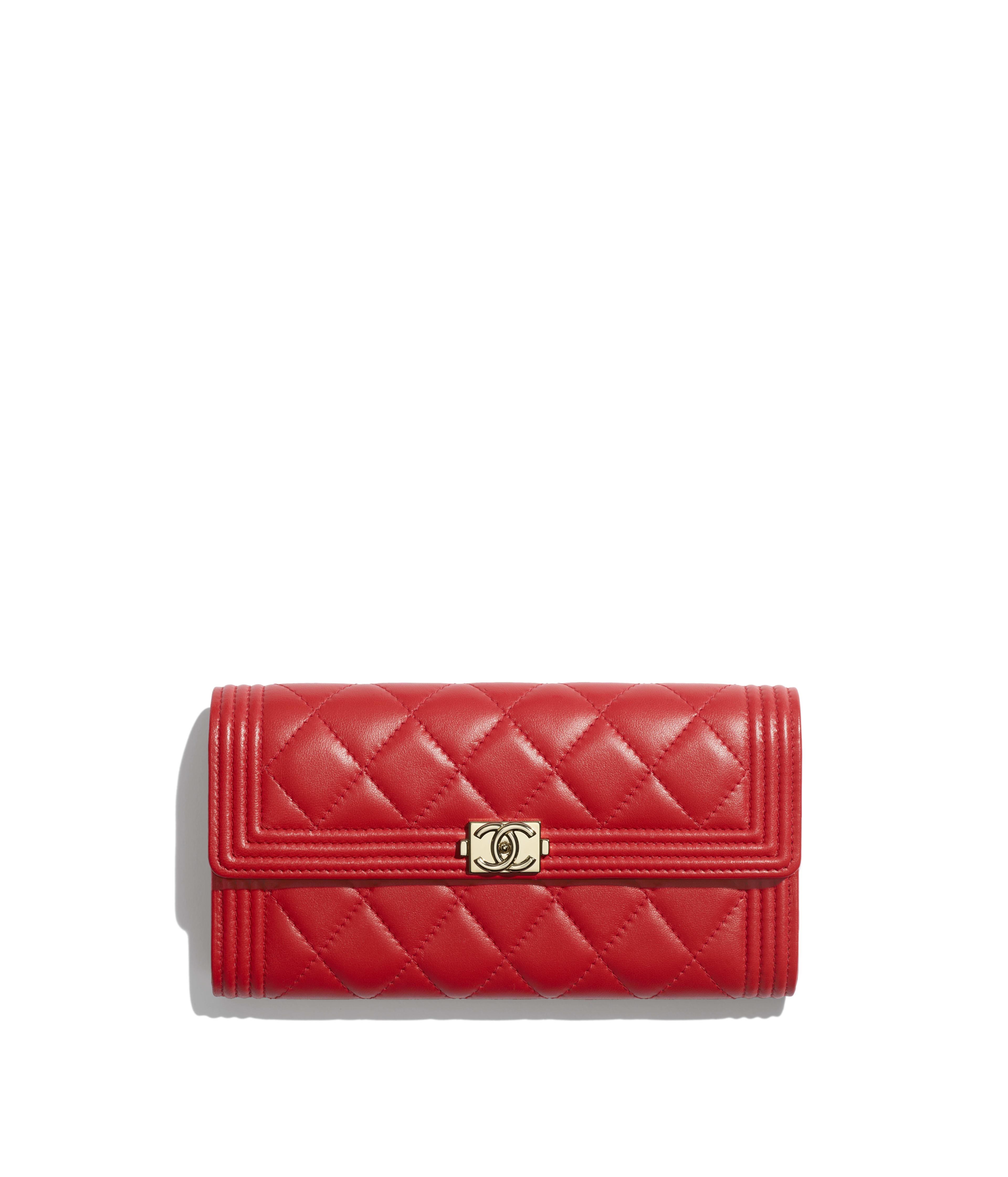 b9fe14081f66 BOY CHANEL Long Flap Wallet Lambskin & Gold-Tone Metal, Red Ref.  A80286Y04059N0413