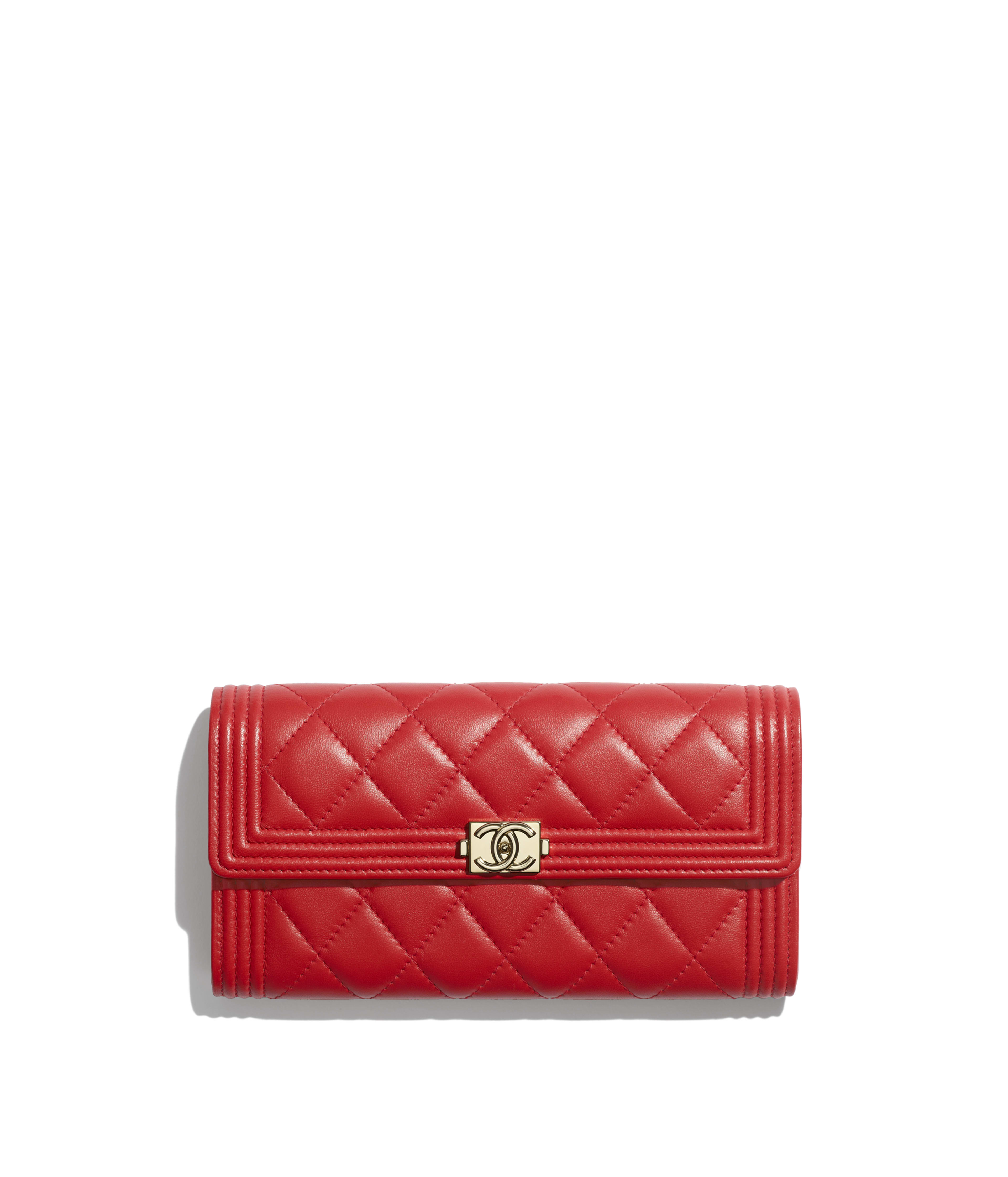 b200601b468c93 BOY CHANEL Long Flap Wallet Lambskin & Gold-Tone Metal, Red Ref.  A80286Y04059N0413