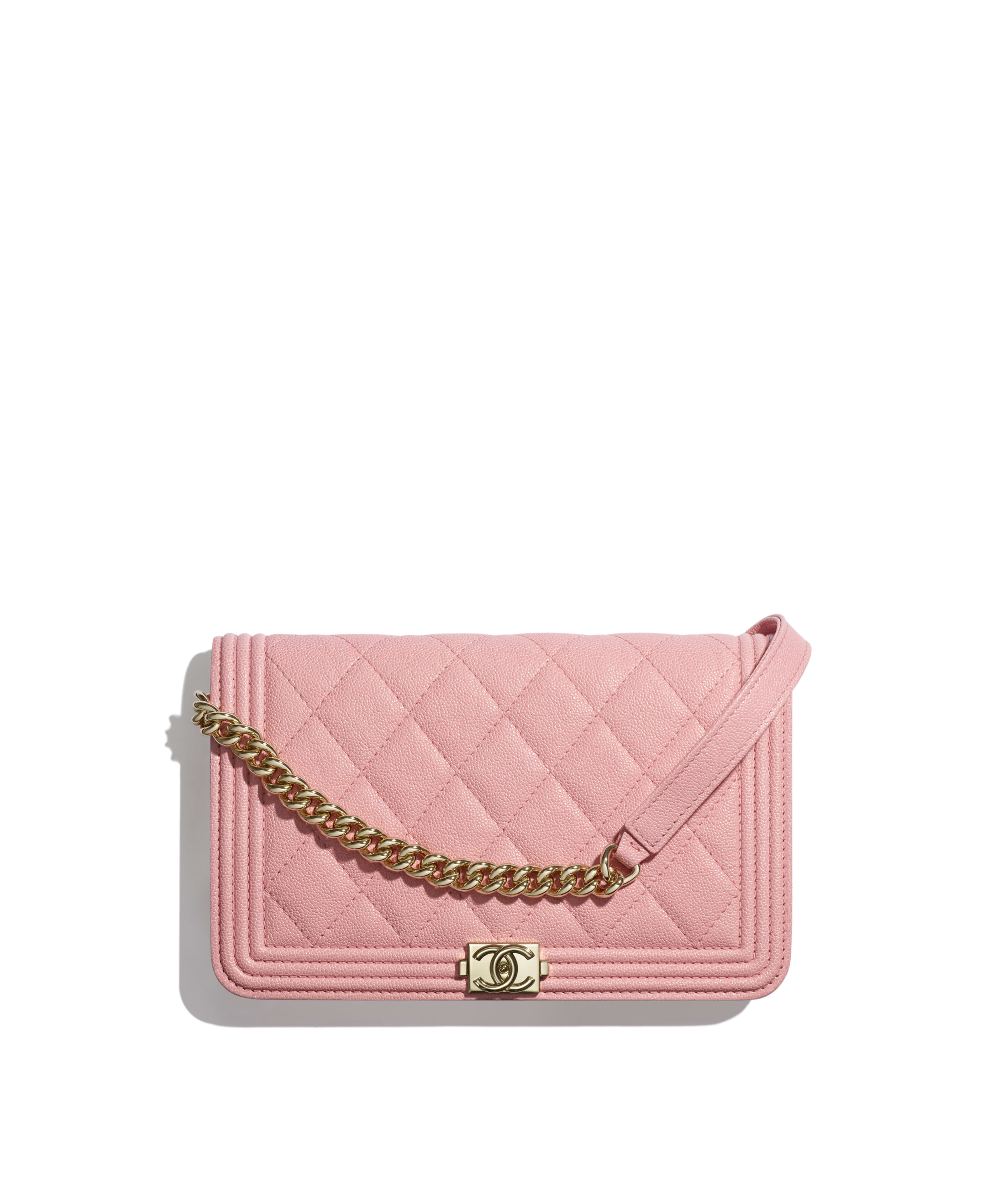 30ade9ad8e967d BOY CHANEL Wallet on Chain Grained Calfskin & Gold-Tone Metal, Pink Ref.  A81969B00317N0897