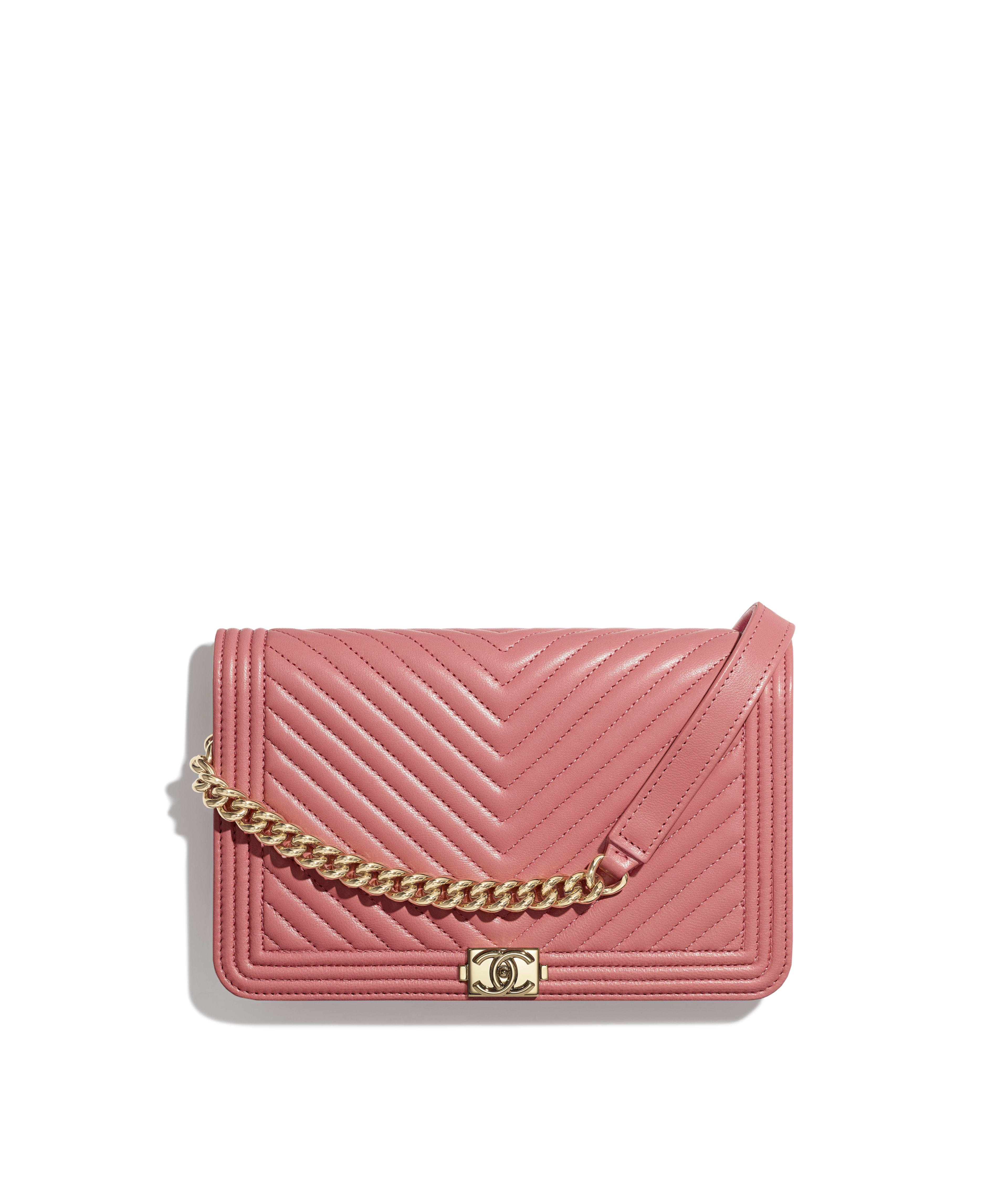 0f9980bd7087a3 BOY CHANEL Wallet on Chain Lambskin & Gold-Tone Metal, Pink Ref.  A81969B00635N4704
