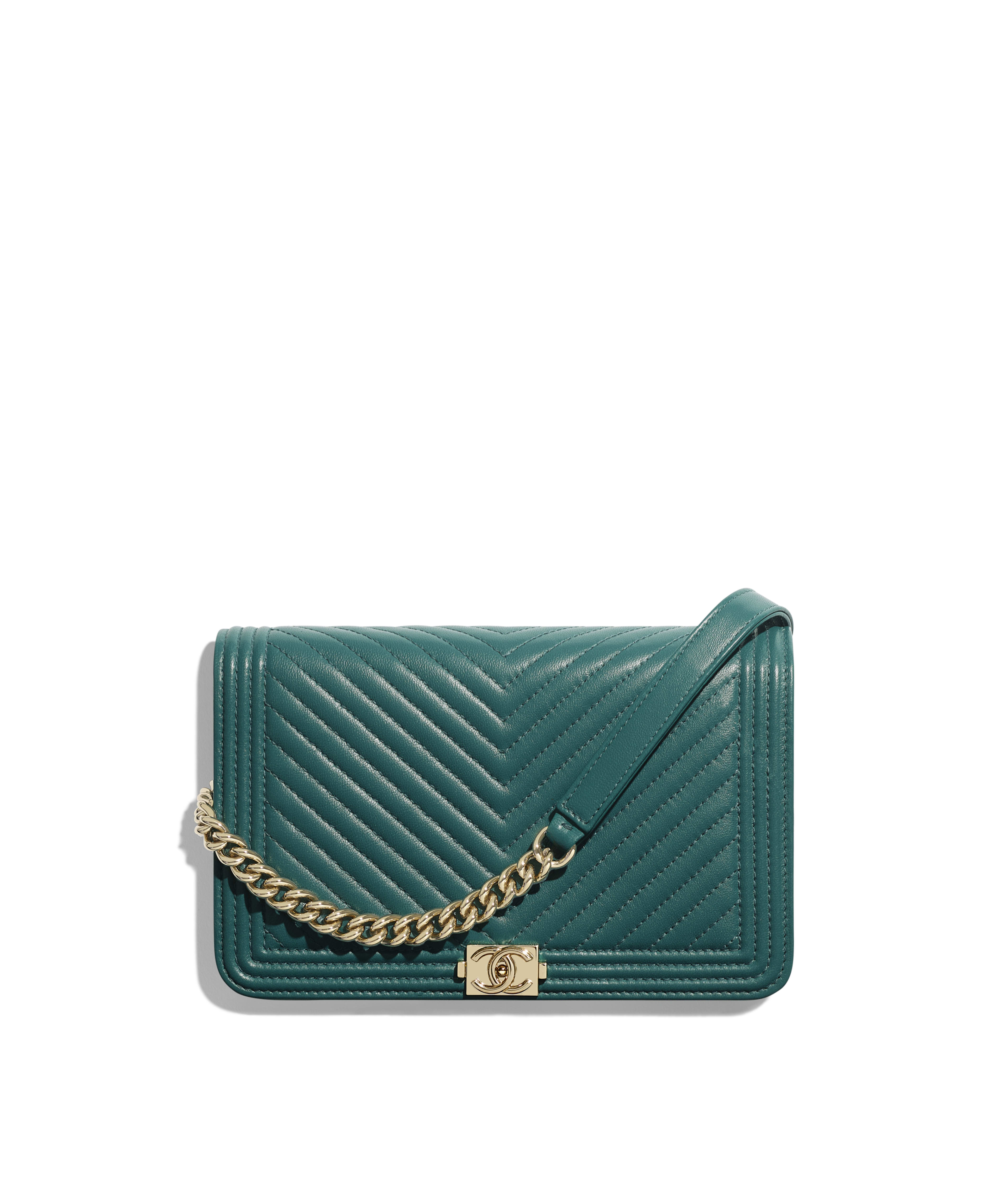 6becf2853d9d BOY CHANEL Wallet on Chain Lambskin & Gold-Tone Metal, Turquoise Ref.  A81969Y25539N0415