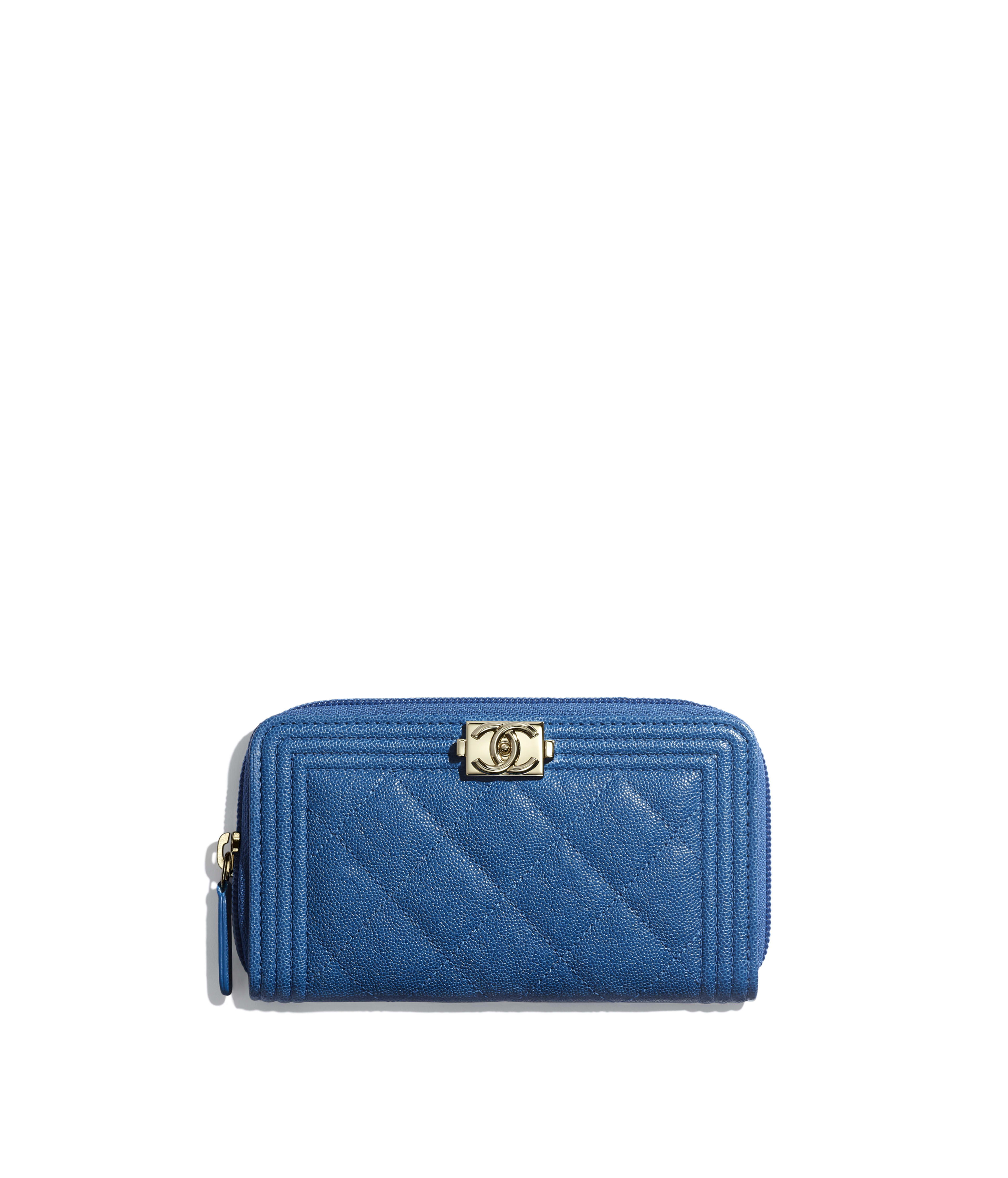 3dd463269f24 BOY CHANEL Zipped Wallet Grained Calfskin & Gold-Tone Metal, Dark Blue Ref.  A80566B00317N0901