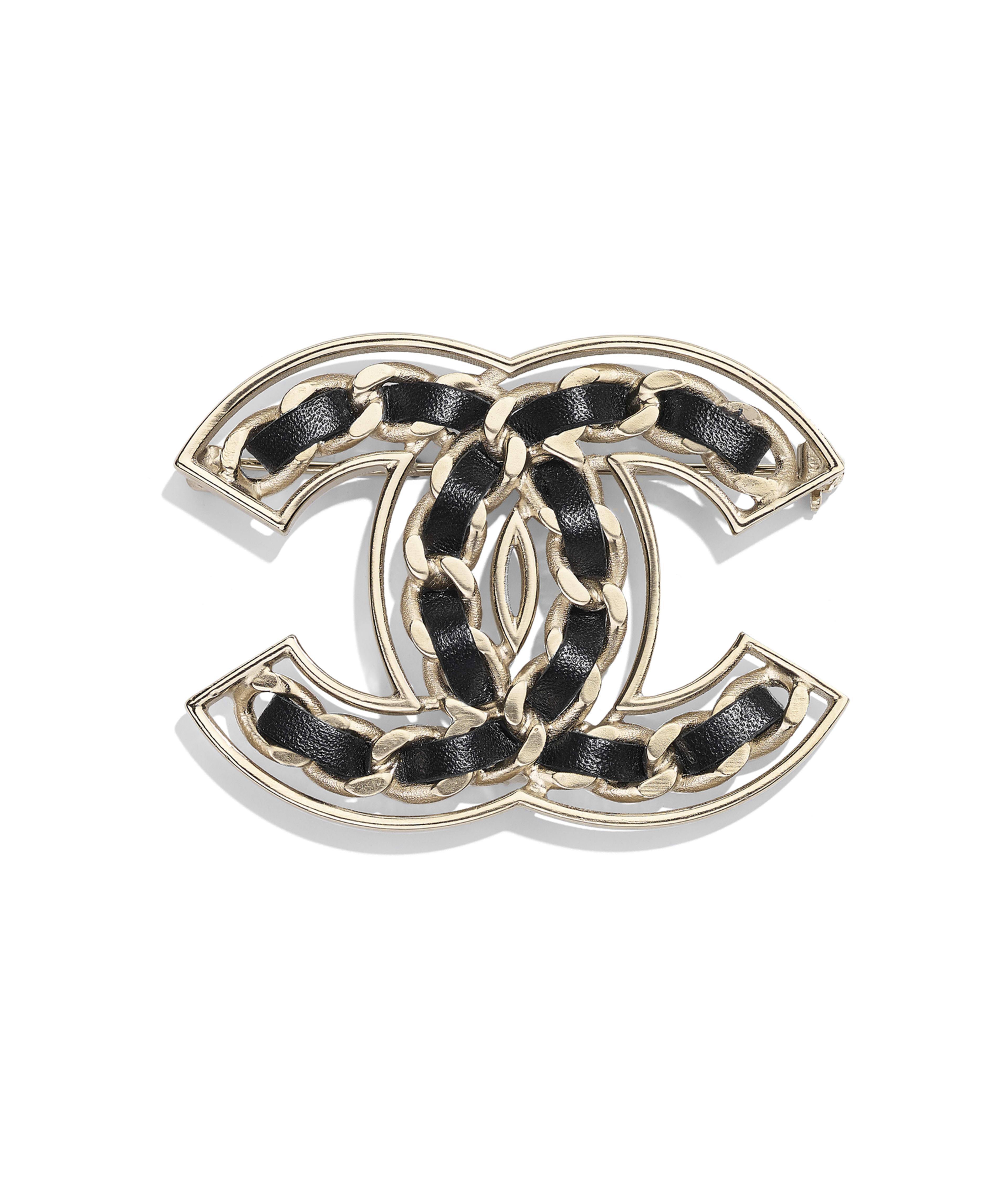 7cfd06306466 Brooch Metal & Calfskin, Gold & Black Ref. AB0568Y47598Z2047