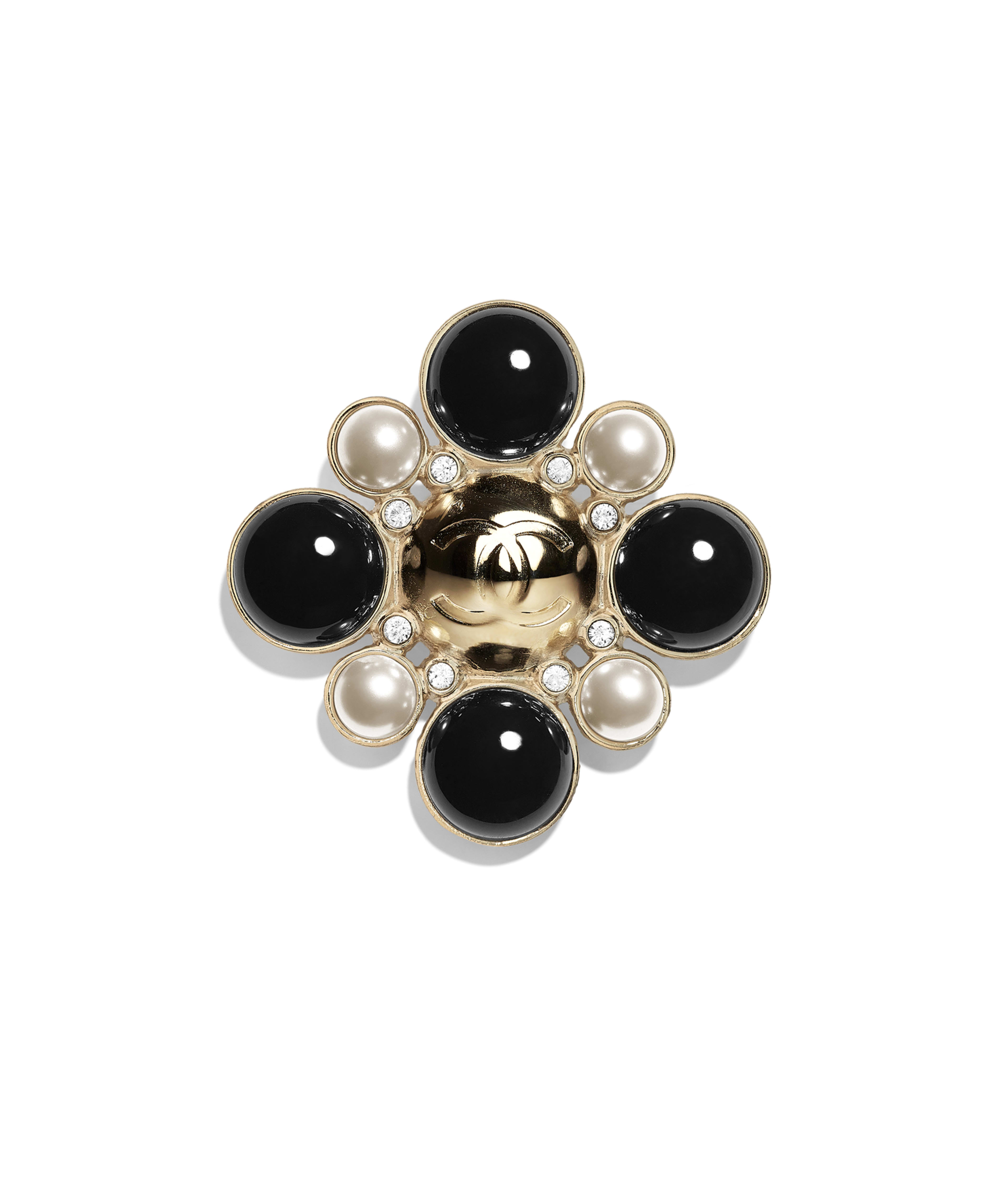 f2dc90ca7 Brooch Metal, Glass Pearls, Imitation Pearls & Strass, Gold, Pearly White,  Black & Crystal Ref. AB2362Y47807Z9232