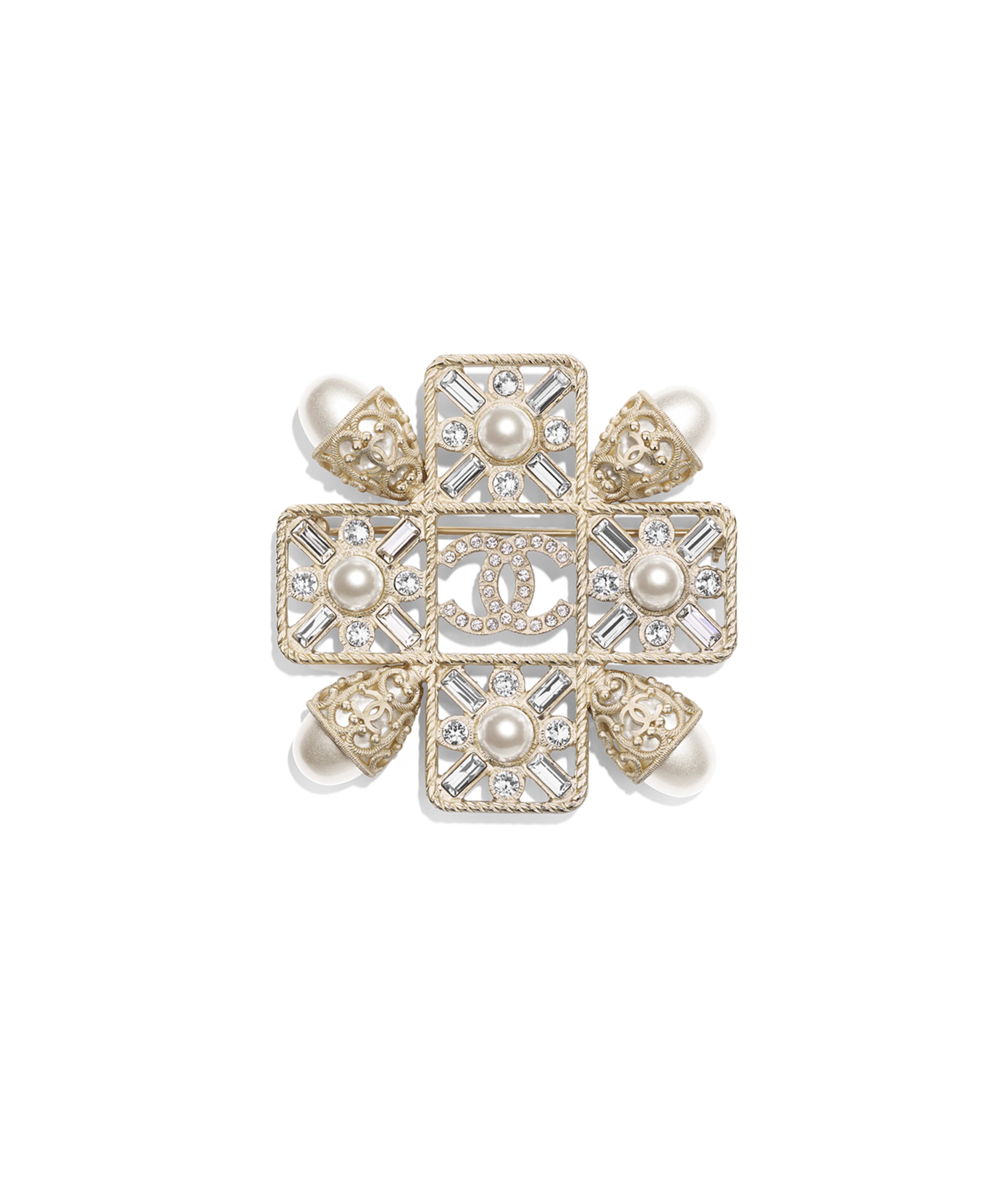 14315c19e Brooch Metal, Glass Pearls, Imitation Pearls & Strass, Gold, Pearly White &  Crystal Ref. AB0646Y47601Z8905